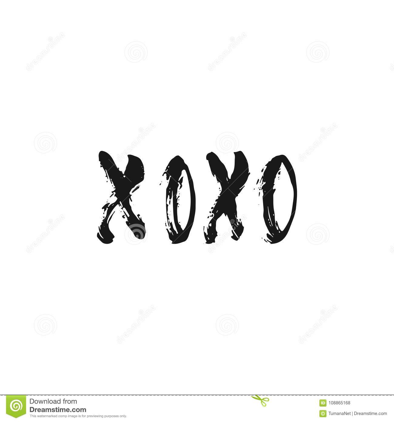 Xoxo Hand Drawn Lettering Phrase For Valentines Day Isolated On