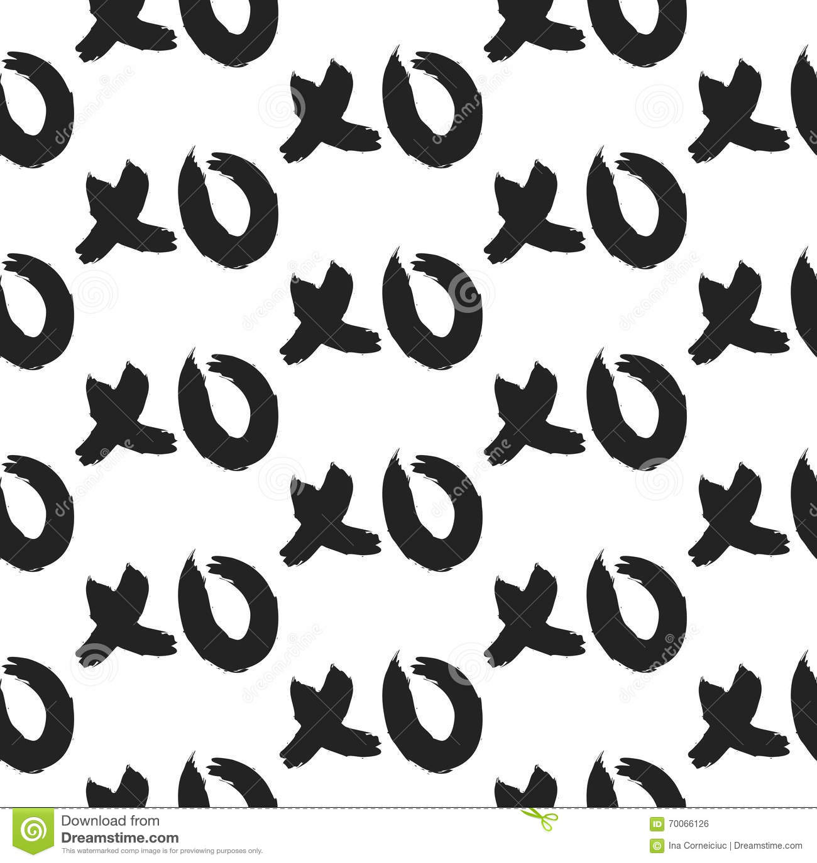 Xoxo Hugs And Kisses Bold Seamless Pattern Stock Vector