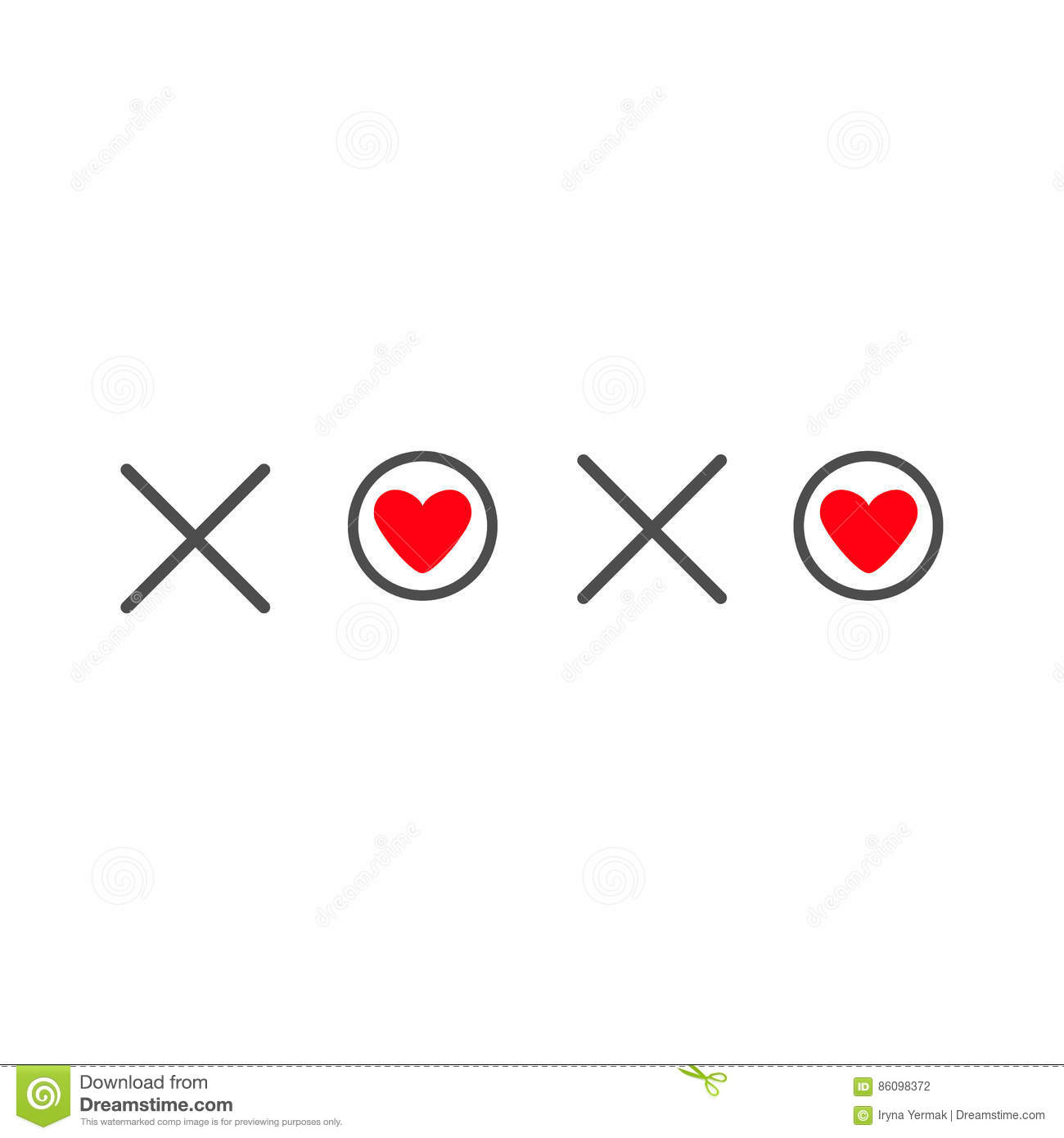 Xoxo Hugs And Kisses Sign Symbol Mark Love Card Red Heart Word Text