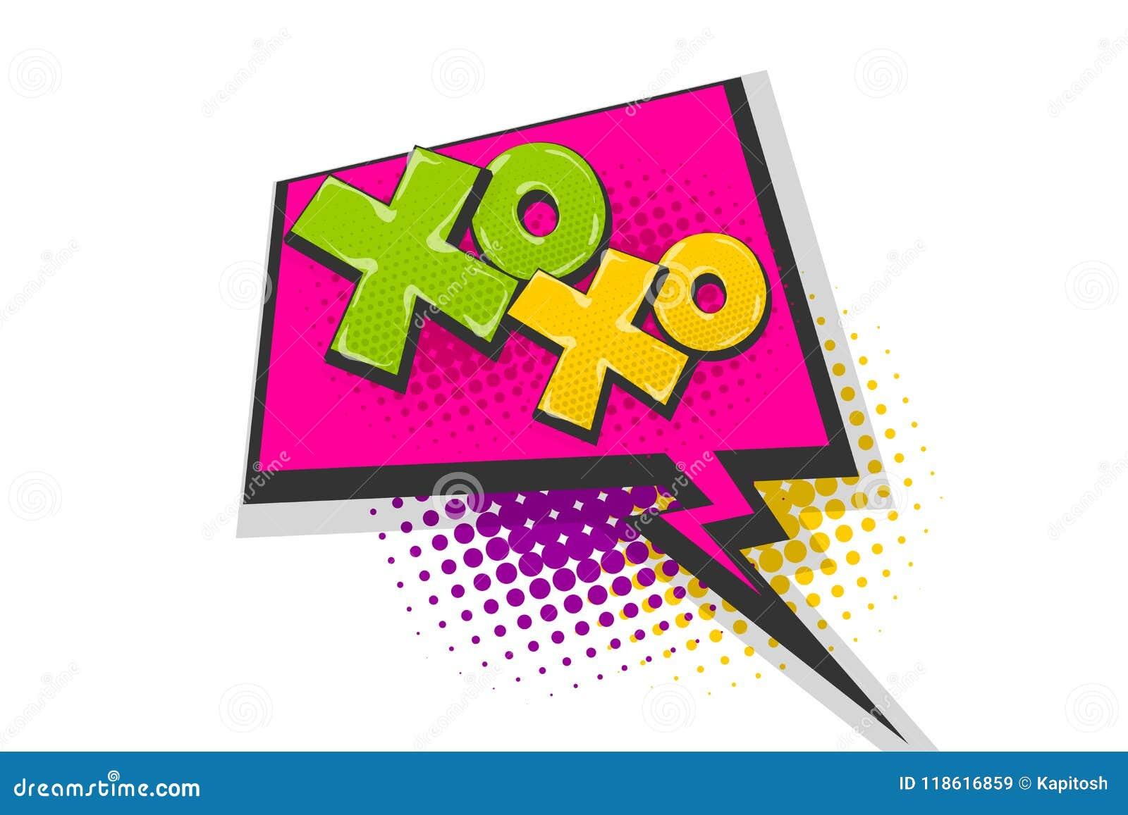 Xoxo Pop Art Comic Book Text Speech Bubble Stock Vector