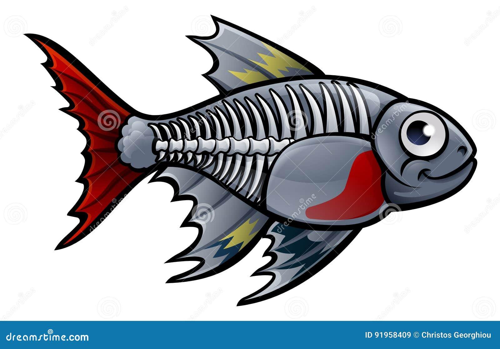 XRay Tetra Fish Cartoon Character
