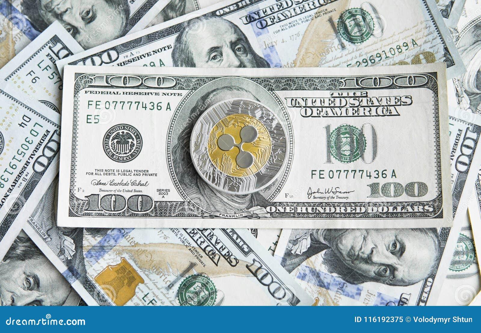 Xrp cripto e da ondinha da moeda fundo do dinheiro dos dólares americanos Blockchain e moeda do cyber Dinheiro global troca