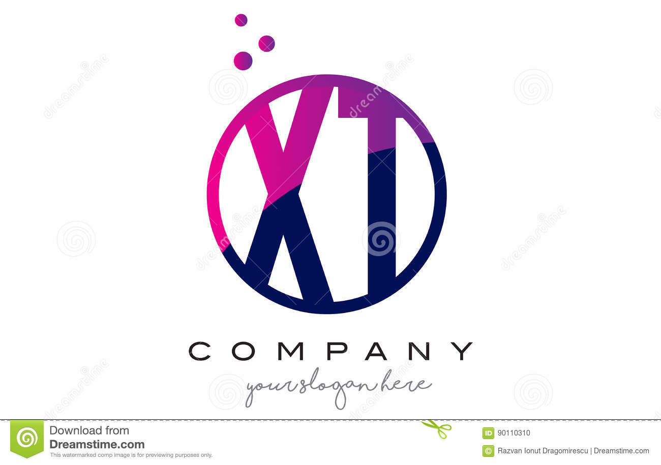 XT X T Circle Letter Logo Design With Purple Dots Bubbles