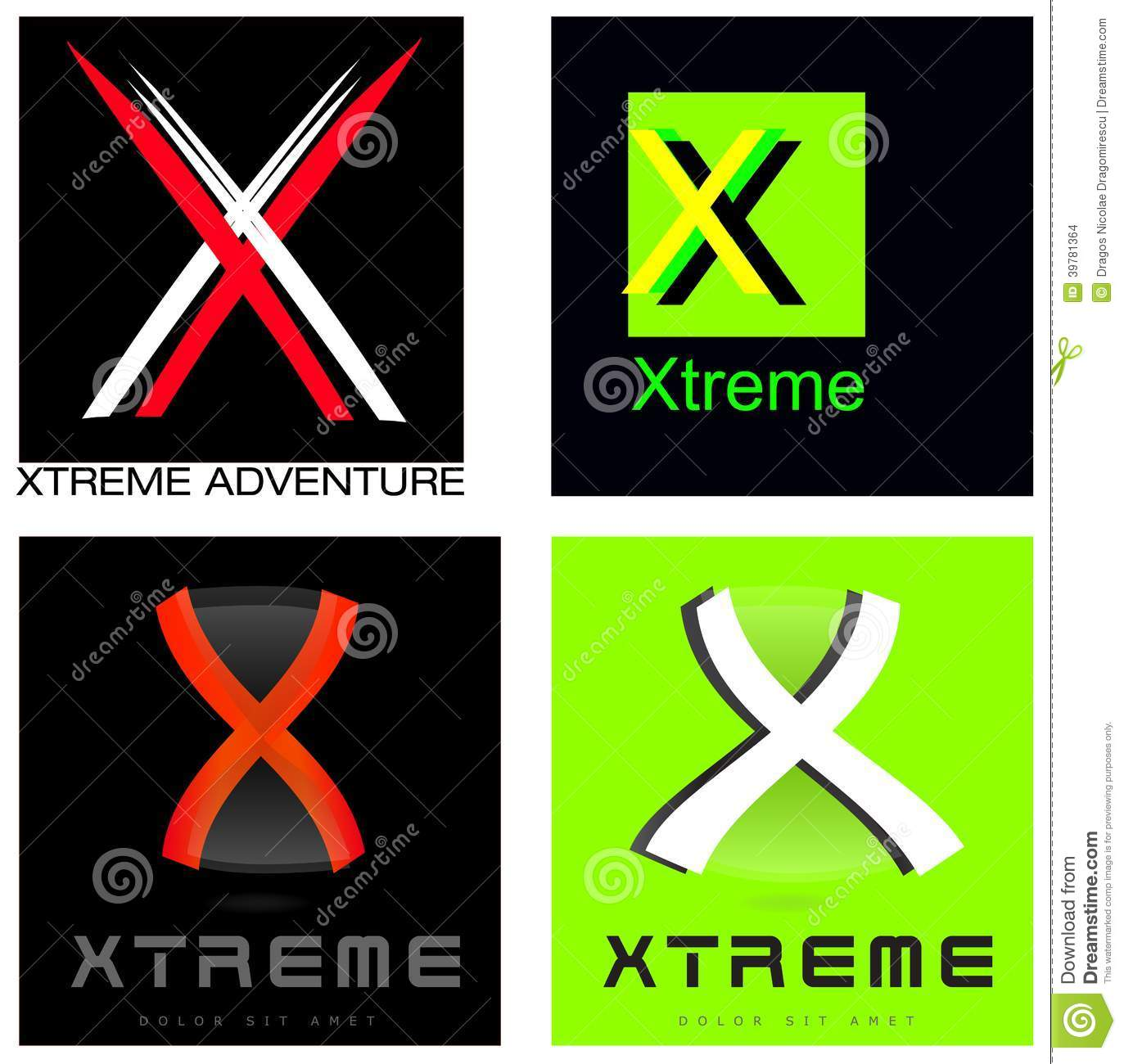 xtreme or letter x company logo set stock illustration