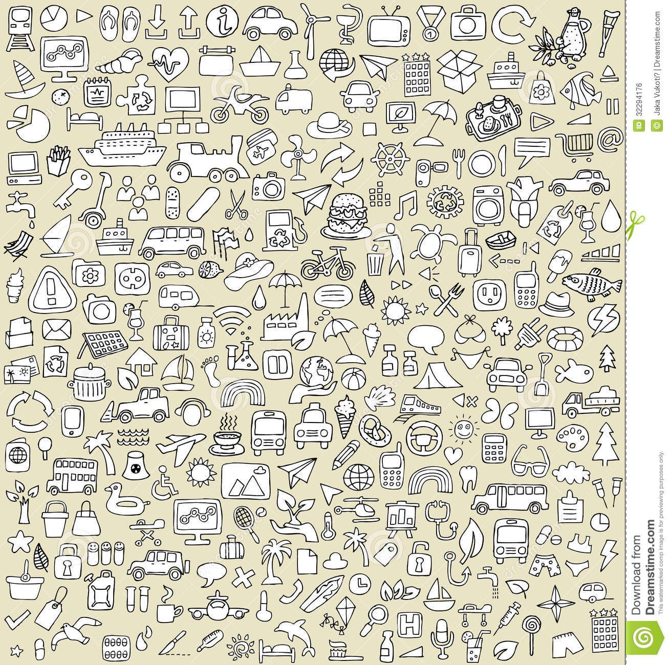 Xxl Doodle Icons Set No 3 Stock Vector Illustration Of