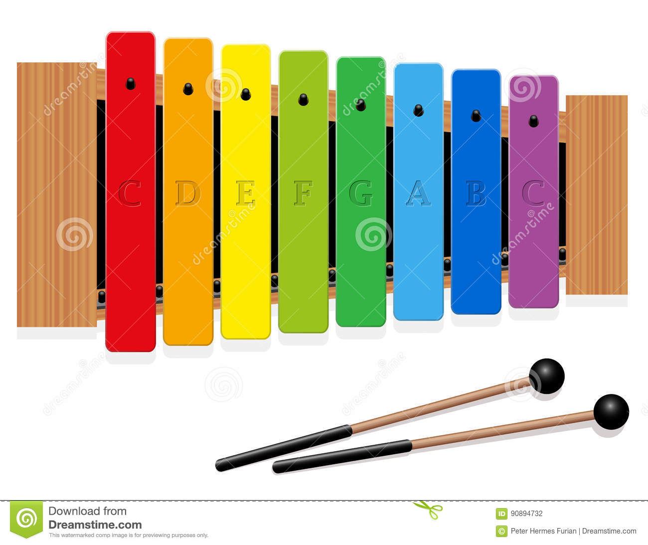 Xylophone C Major Scale Rainbow Colored