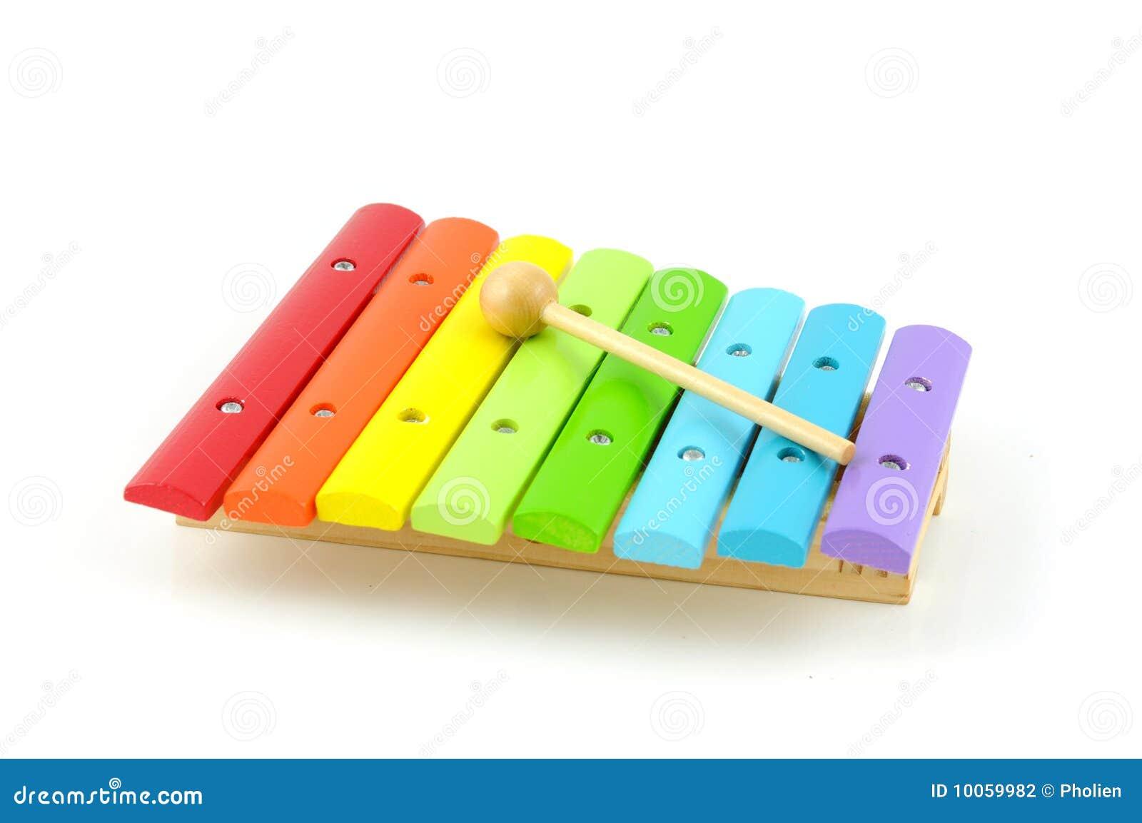 Xylophone de madeira colorido com vara