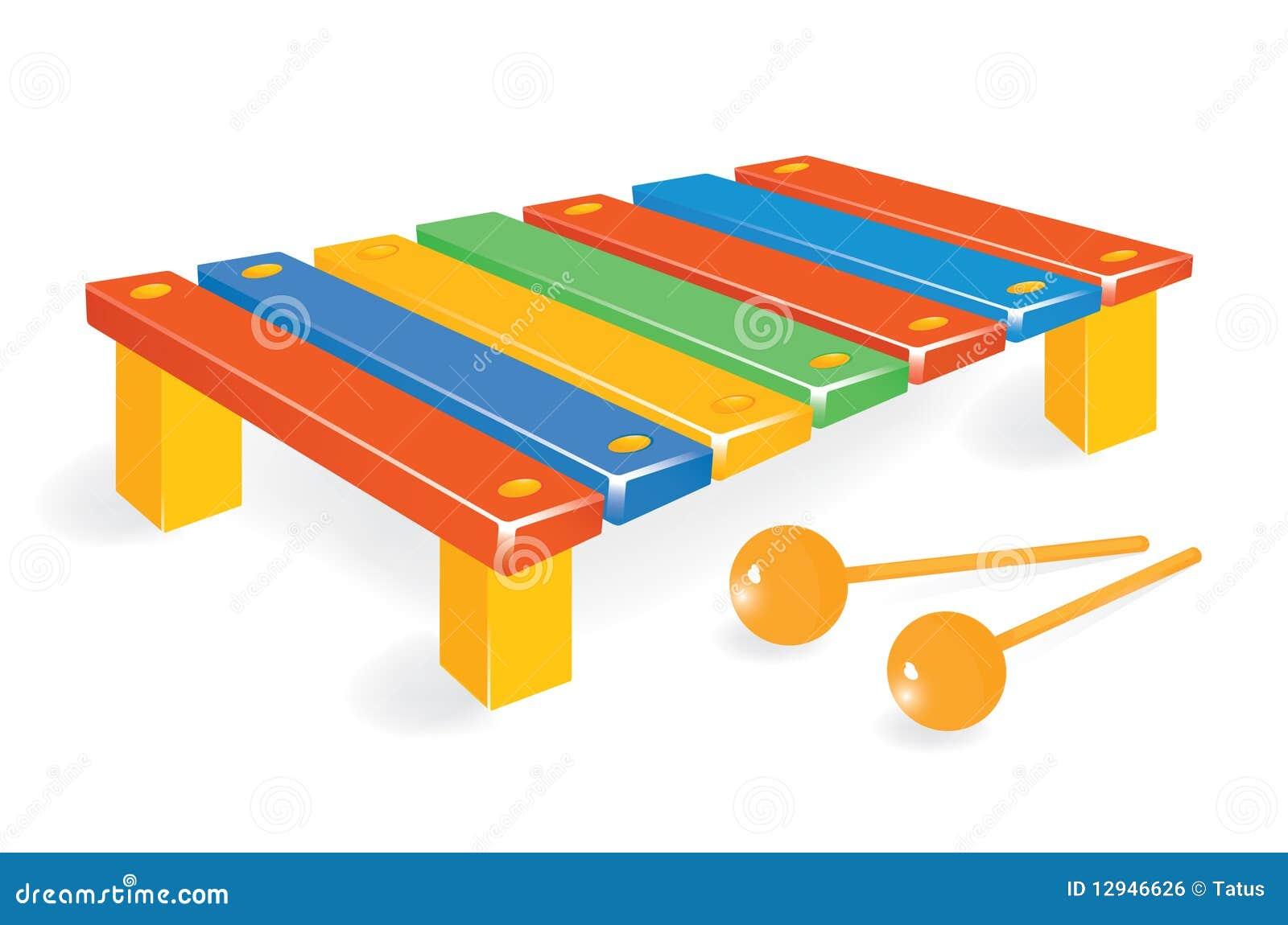 Xylophone en bois avec le maillet illustration de vecteur for Construction xylophone bois