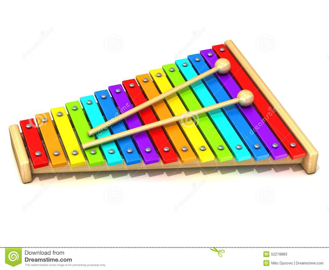 Wooden Rainbow Xylophone Sticks ~ Xylophone with rainbow colored keys stock illustration