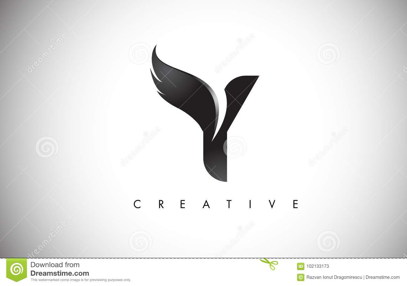 Y Letter Wings Logo Design With Black Bird Fly Wing Icon Stock