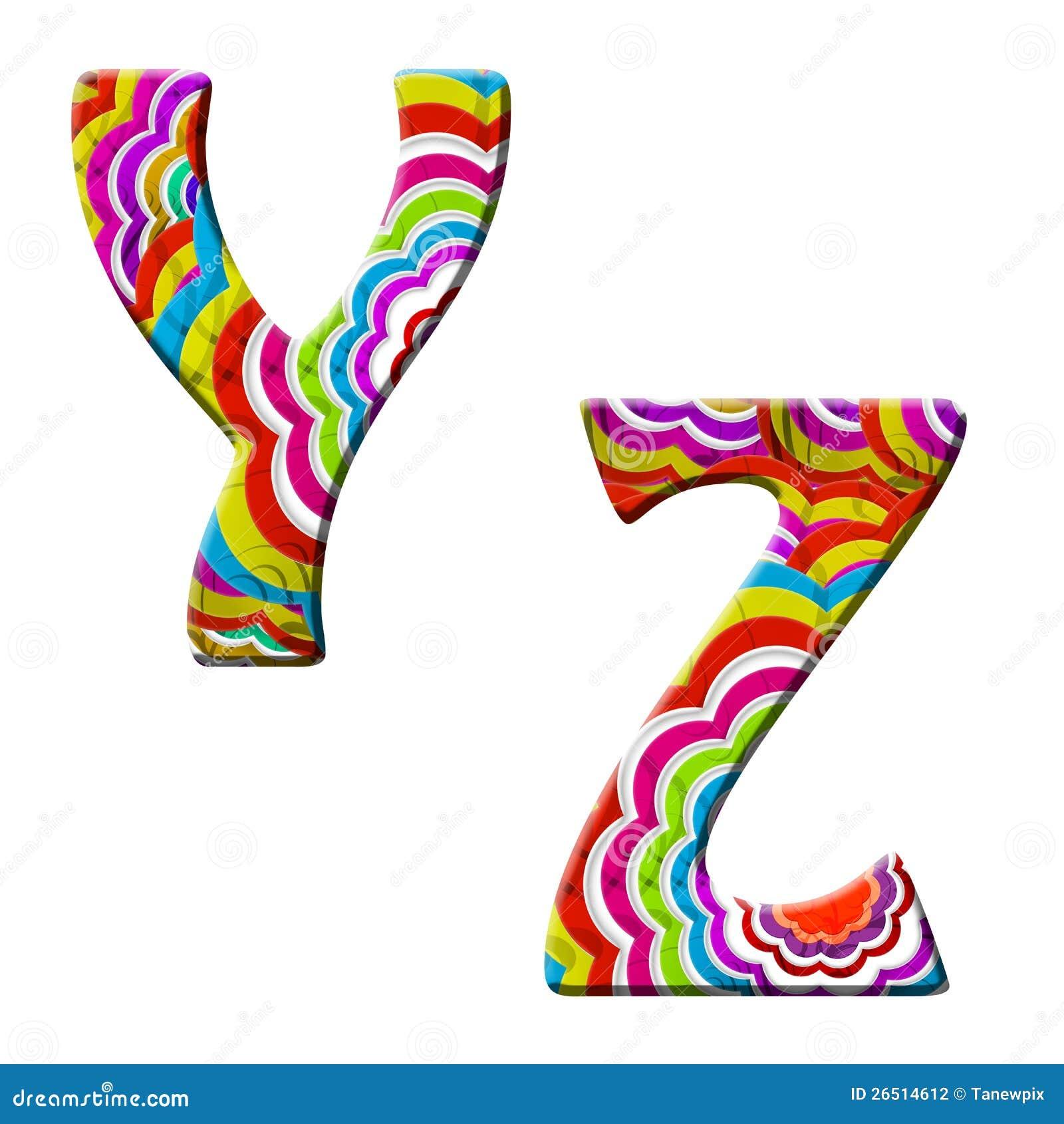 Y, Z, ilustração colorida da pia batismal da onda.