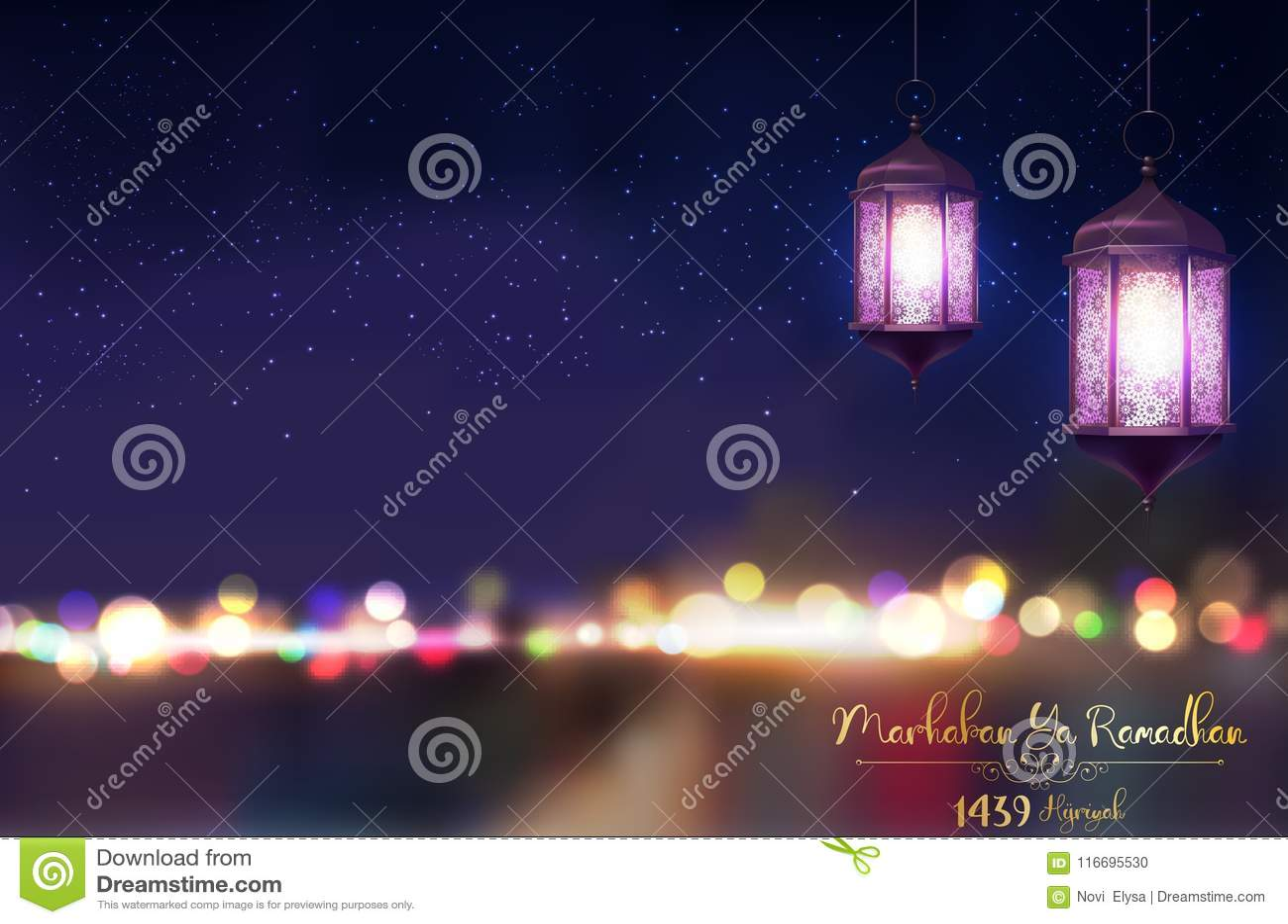 Ya de Marhaban ramadhan Saludo de Ramadan Kareem en fondo borroso con la linterna árabe iluminada hermosa