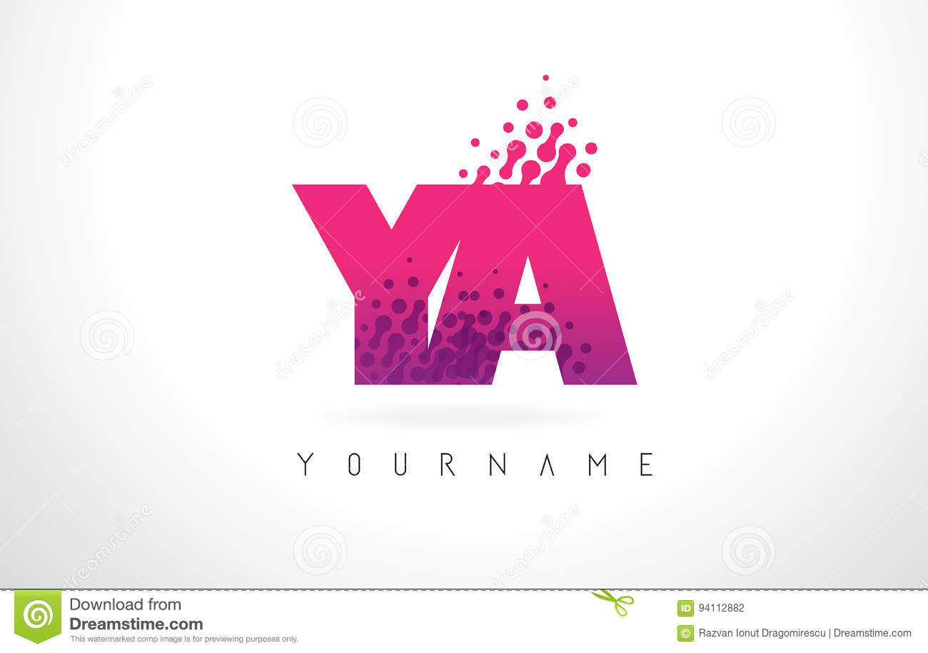 YA Y A Letter Logo With Pink Purple Color And Particles Dots Des ...