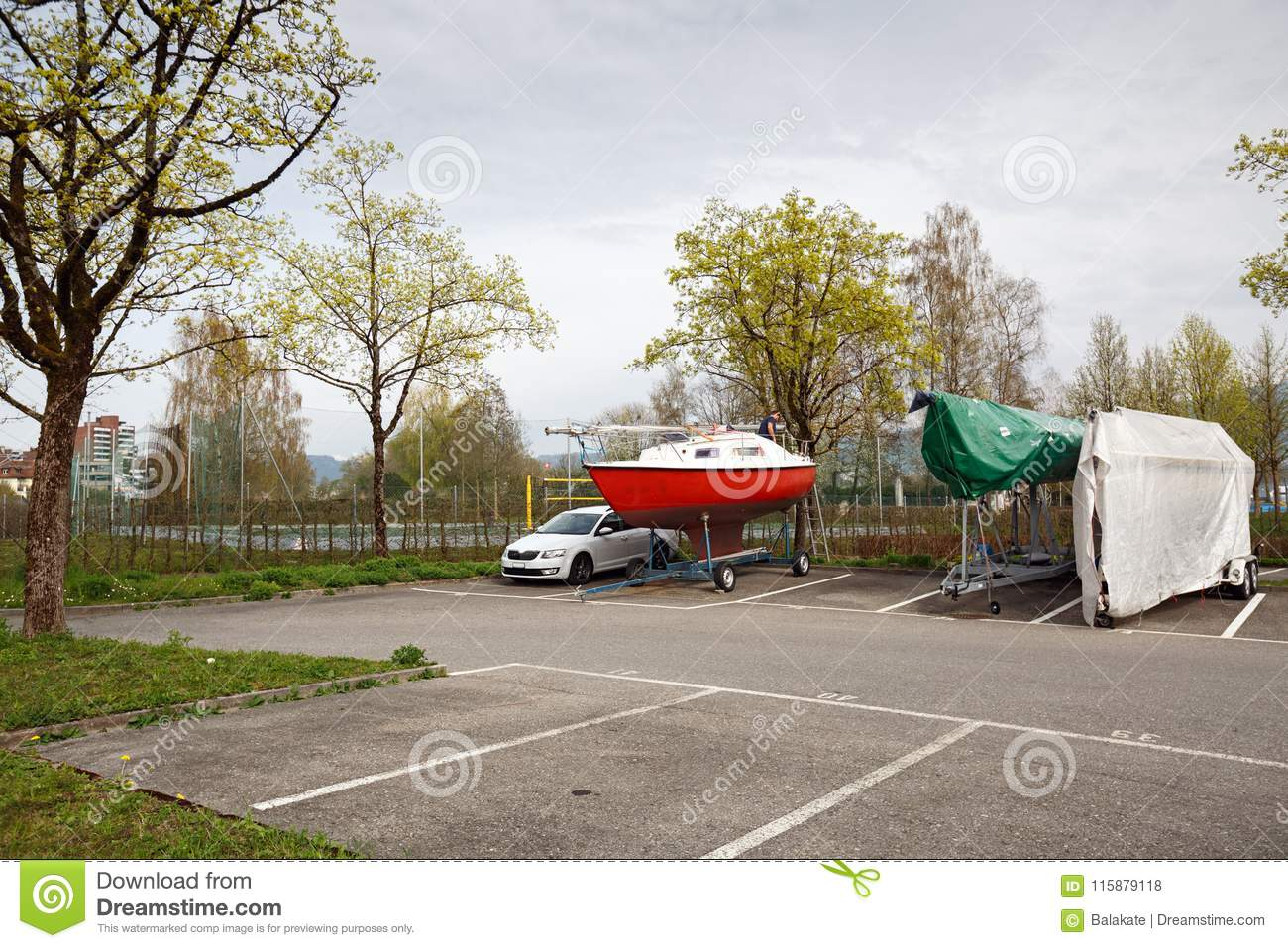 Yacht And Car Parking. Town Of Cham, Canton Of Zug ...