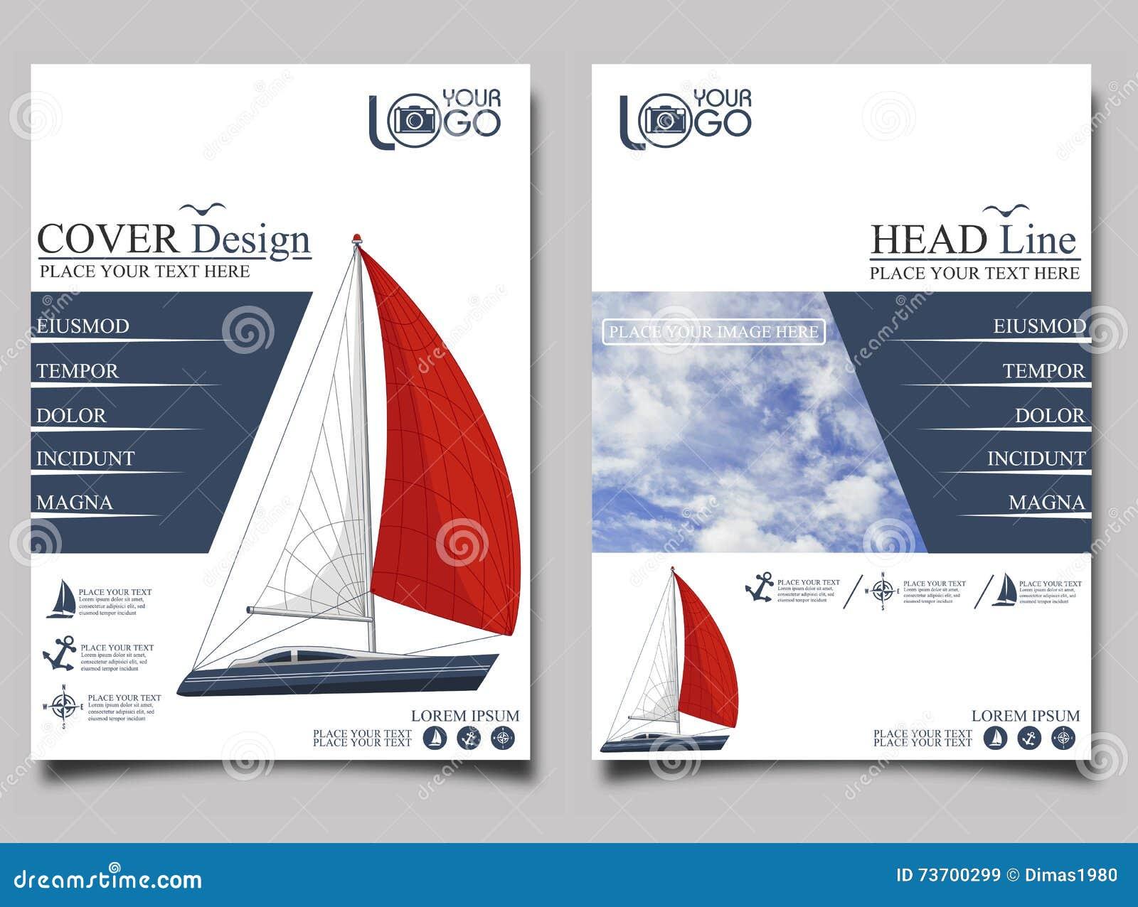 yacht club flyer design template stock illustration