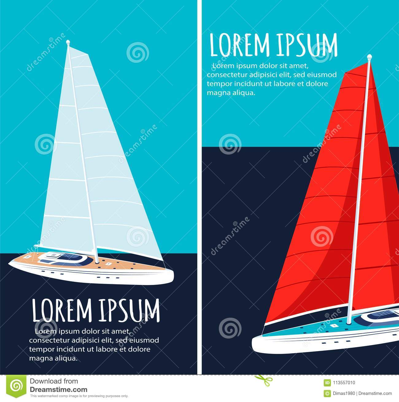 Yacht Club Flyers Design With Sail Boat Stock Vector