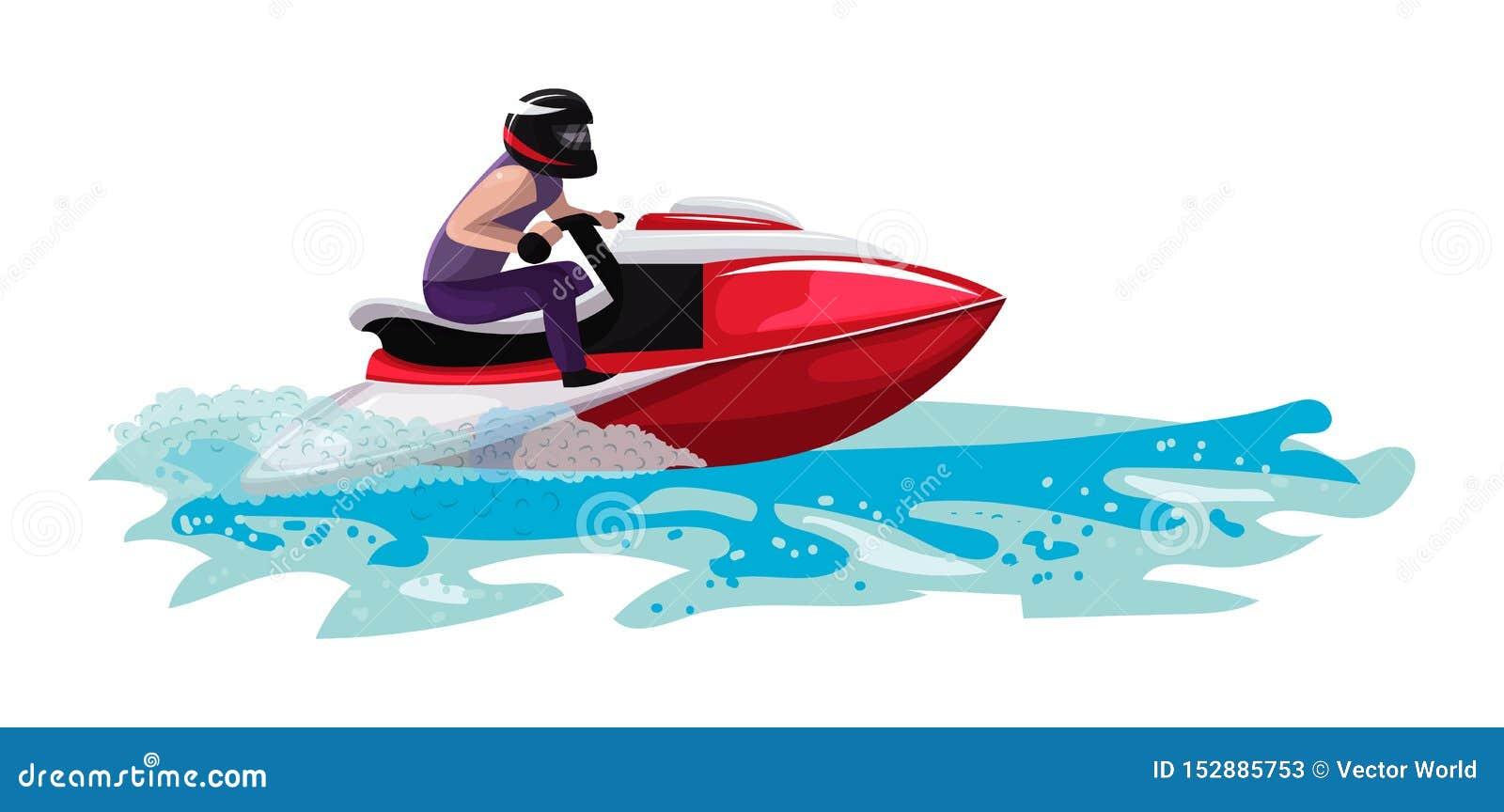 Yacht del motoscafo di velocità di vettore della barca che viaggia nell insieme nautico dell illustrazione dell oceano delle vaca