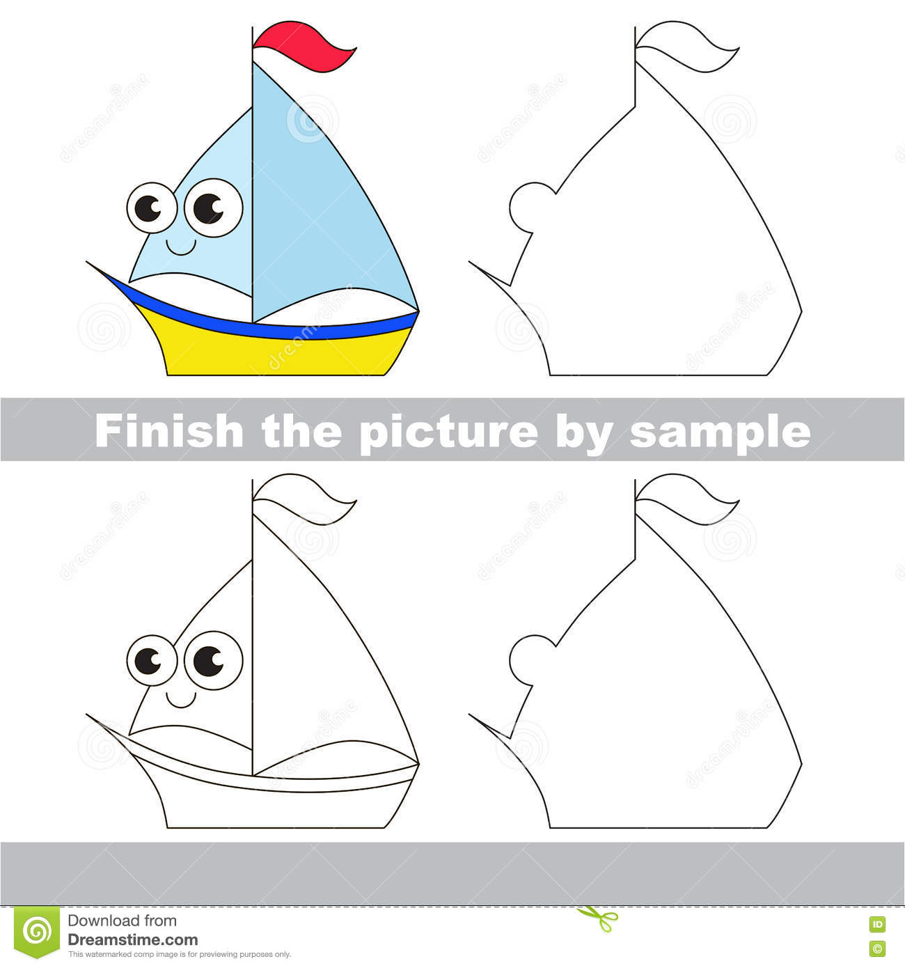 yacht drawing worksheet stock vector image 75234057