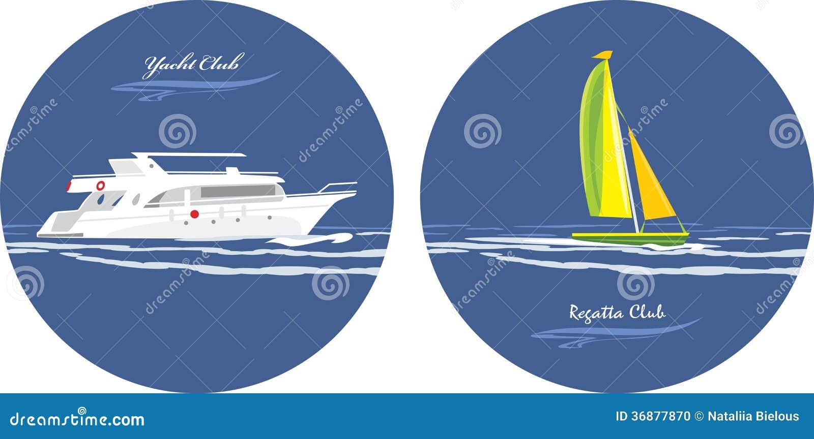 Download Yacht E Club Di Regata. Icone Per Progettazione Illustrazione Vettoriale - Illustrazione di barca, taglierina: 36877870