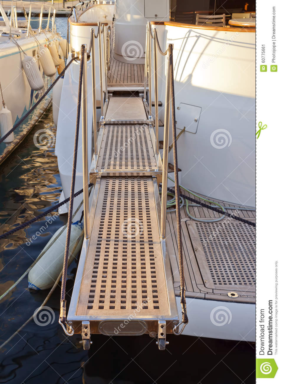 Yacht Extended Telescopic Gangway Stock Image Image Of