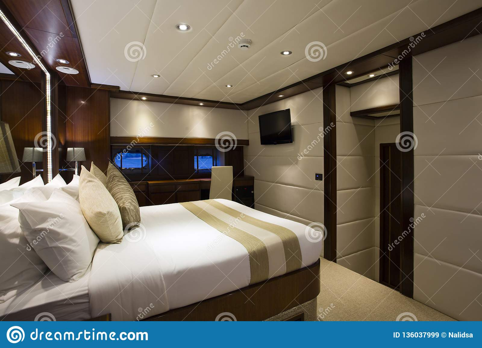 Yacht Interior Bedroom Stock Image Image Of Motor Sheets 136037999