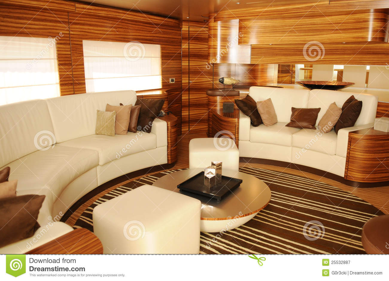 Luxury Yacht Interior Cozy Living Room Royalty Free