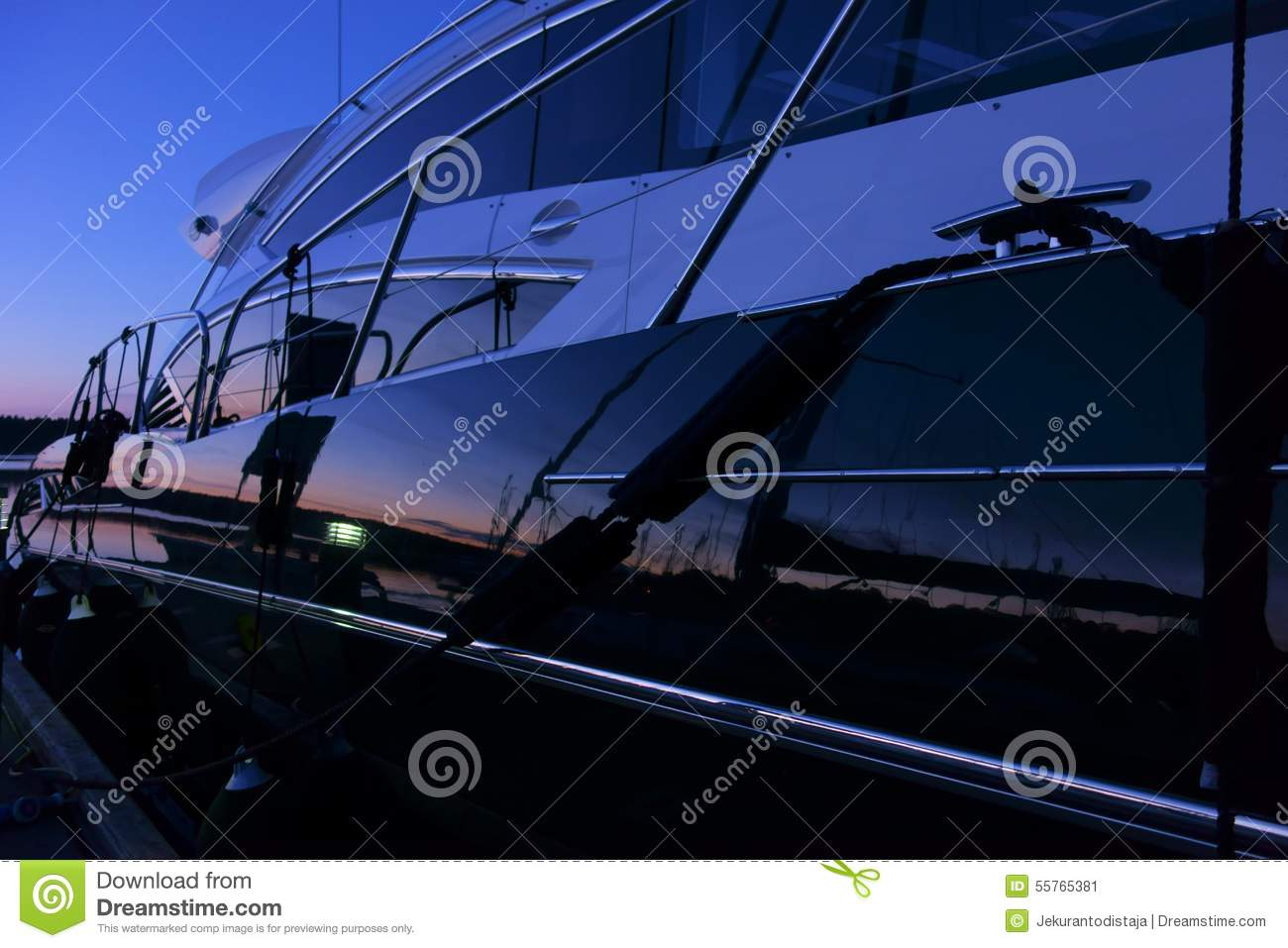 Luxury yacht exterior in the evening