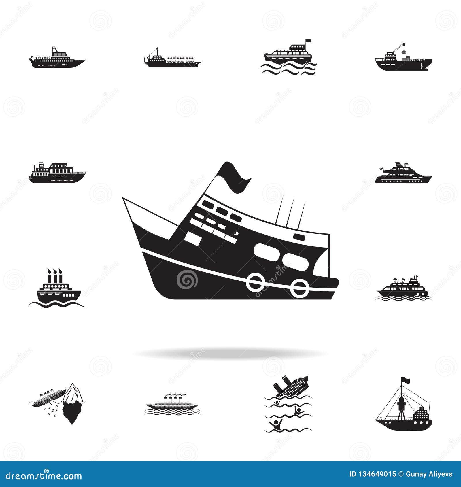 Yacht med flaggasymbolen Detaljerad uppsättning av skeppsymboler Högvärdig grafisk design En av samlingssymbolerna för websites,