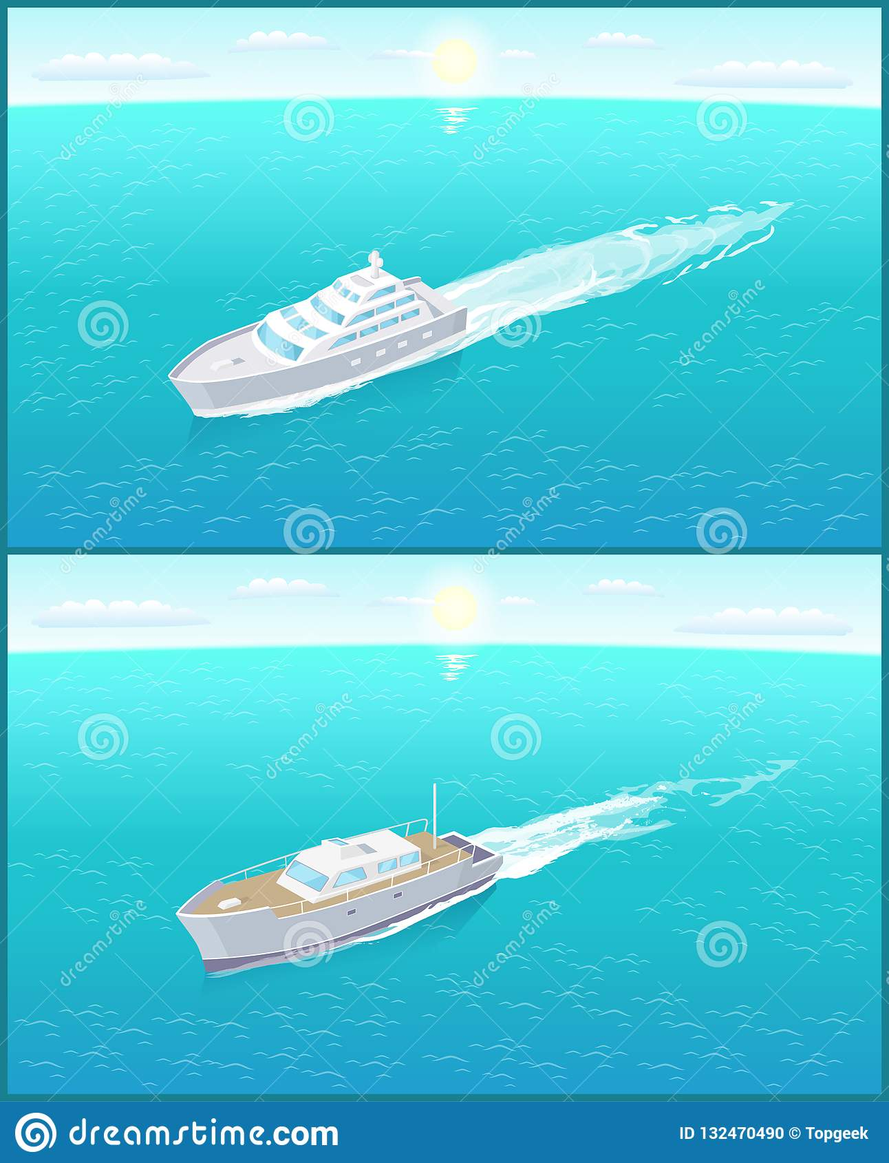 Yacht moderni Marine Nautical Personal Ship Icons