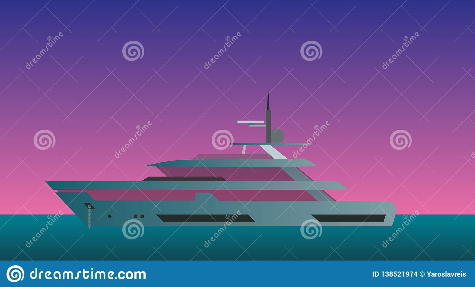 Yacht mot aftonhimmelvektorn