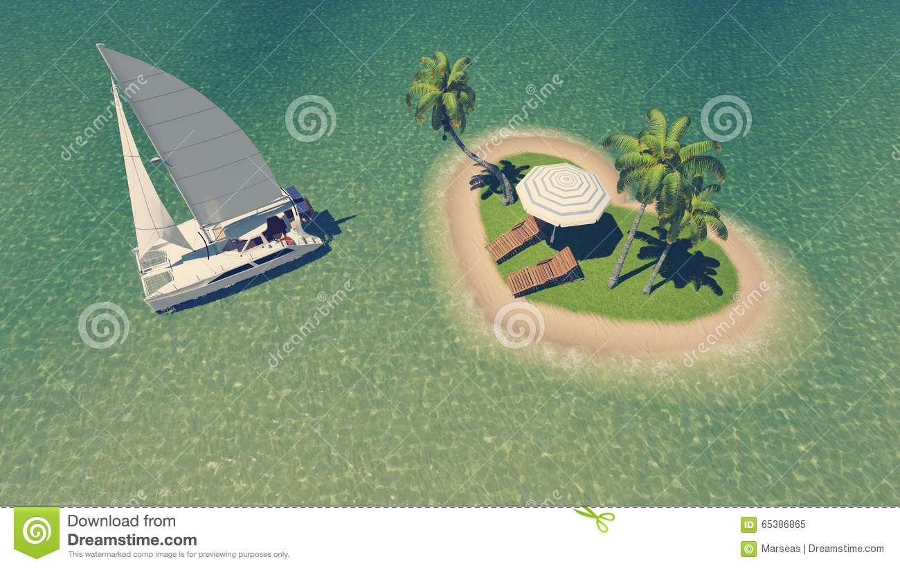 Yacht Near Heart Shaped Tropical Island Stock Illustration