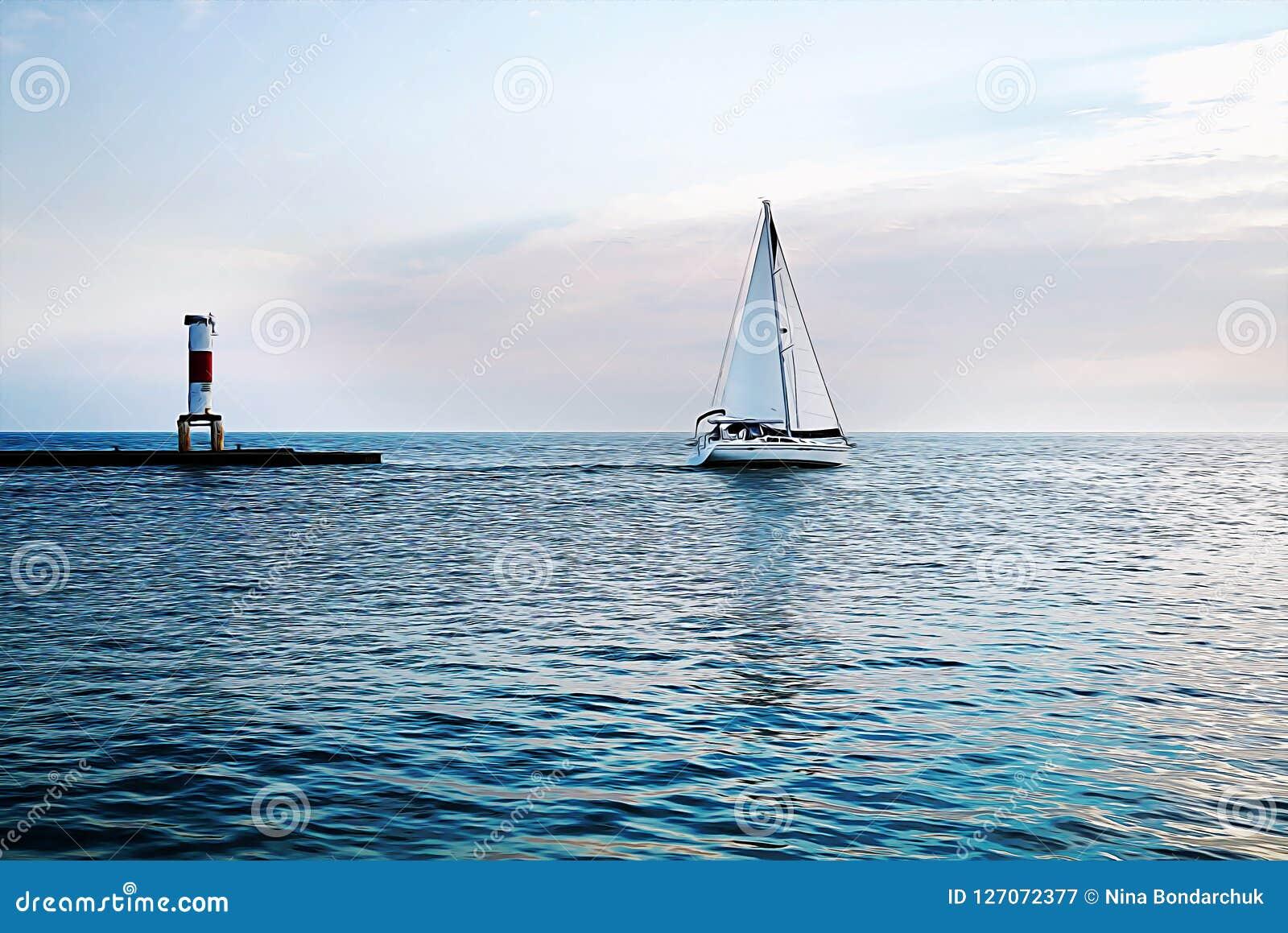 Yacht och fyr på solnedgången i det blåa havet Vit seglar a