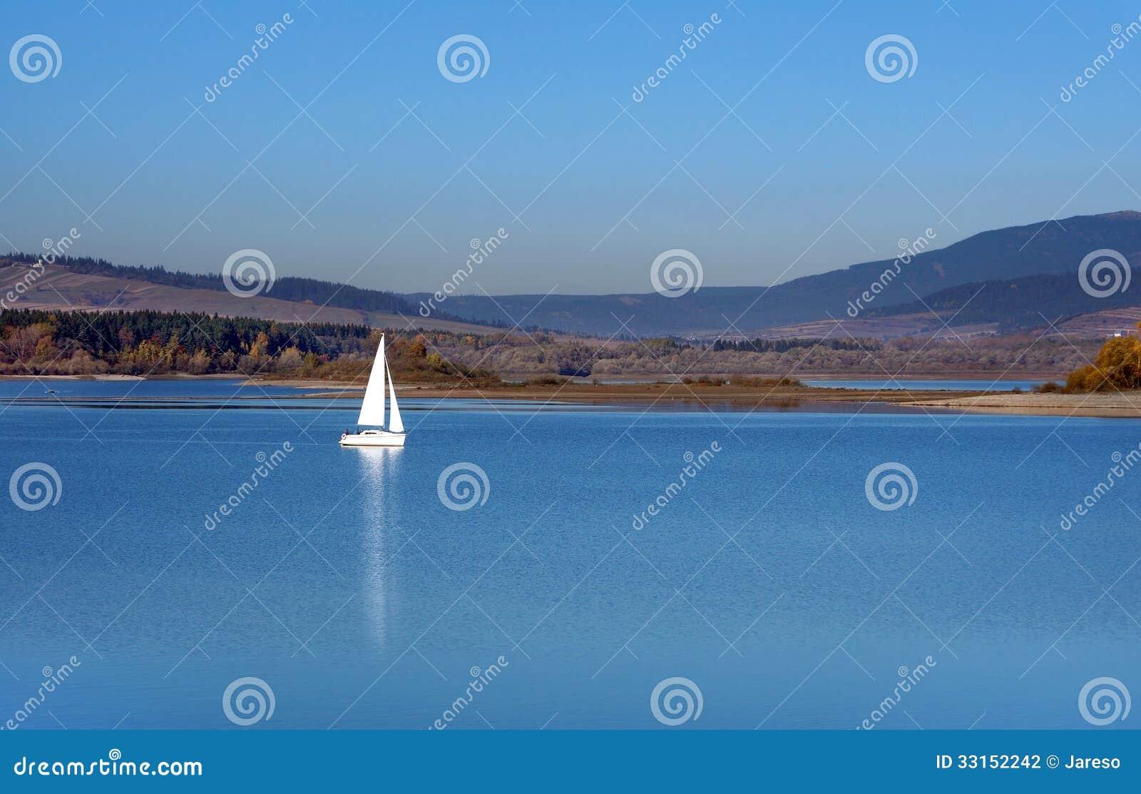 Yacht at Orava reservoir, Slovakia