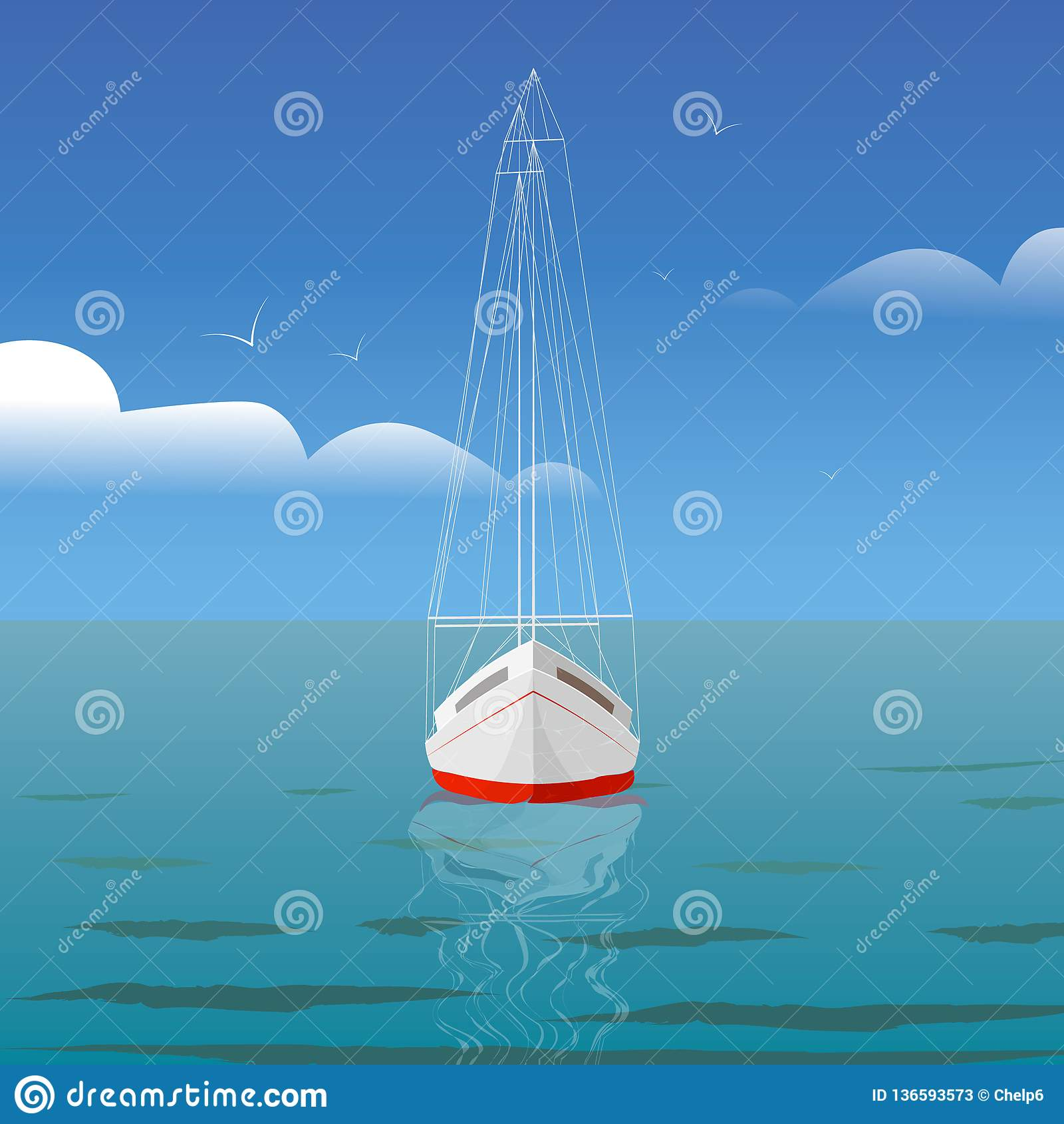 Yacht på havet med reflexion och främre sikt för seagulls
