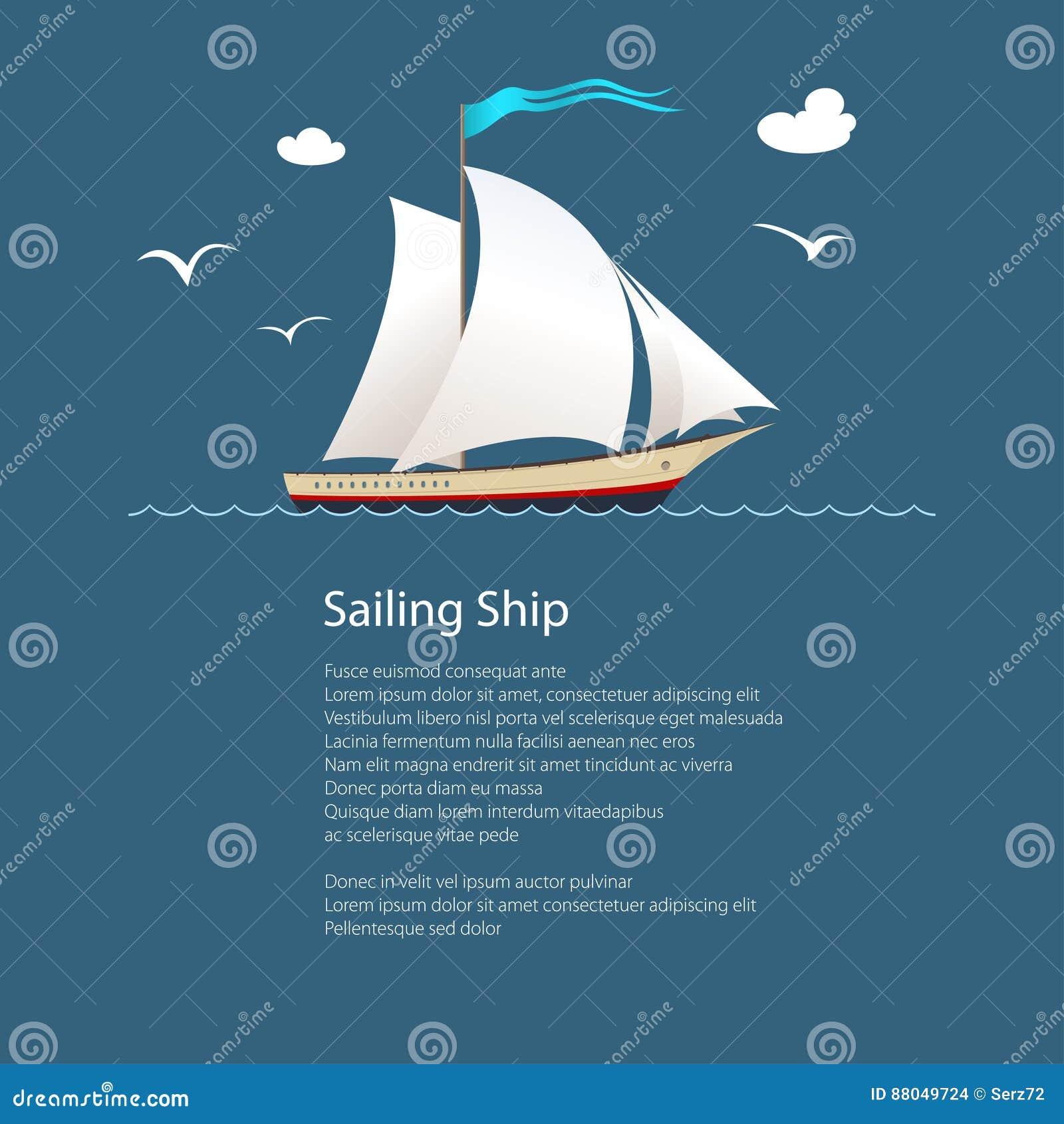 Yacht på havet och text