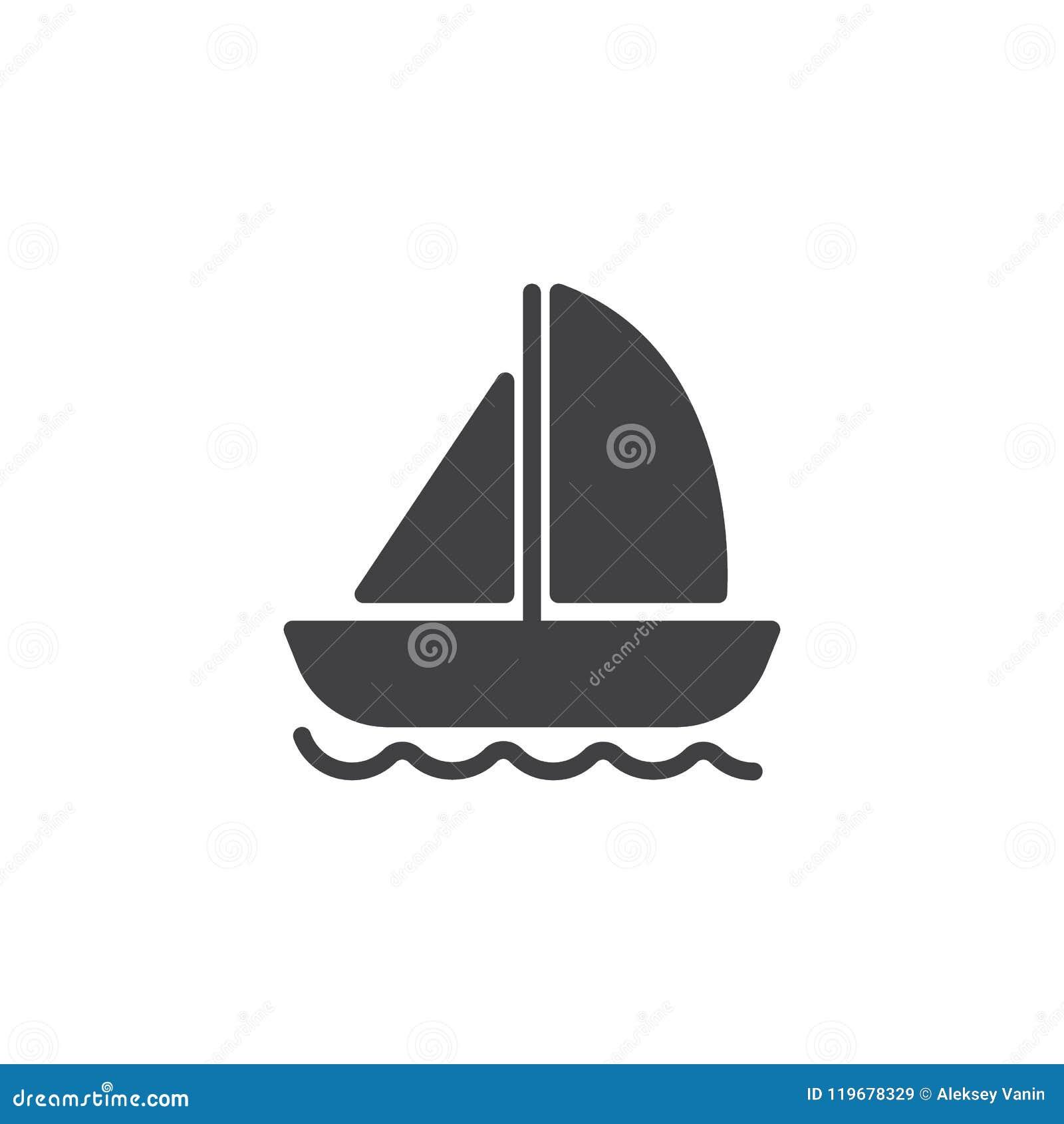 Yacht på symbol för vågvektor