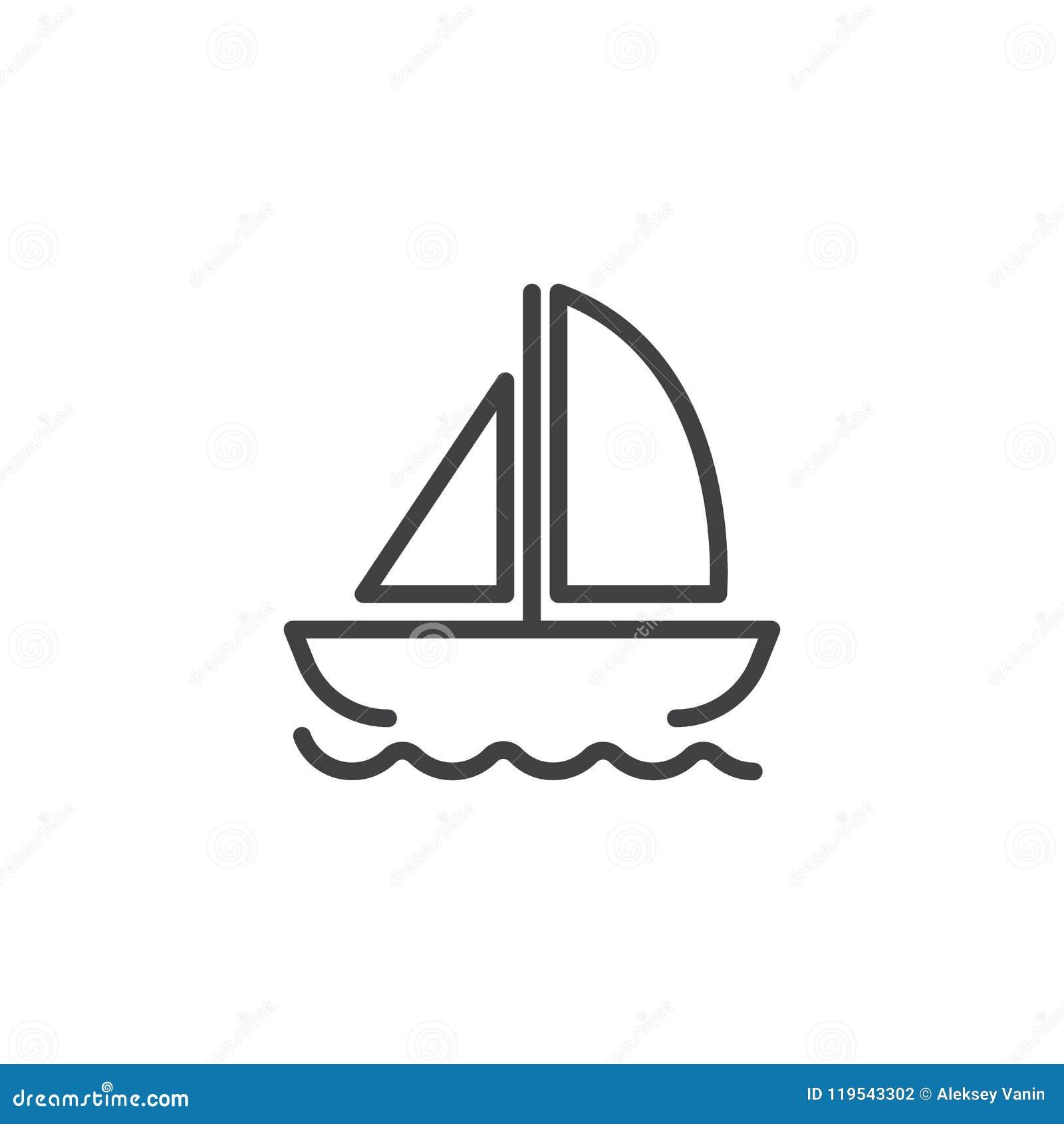Yacht på vågöversiktssymbol