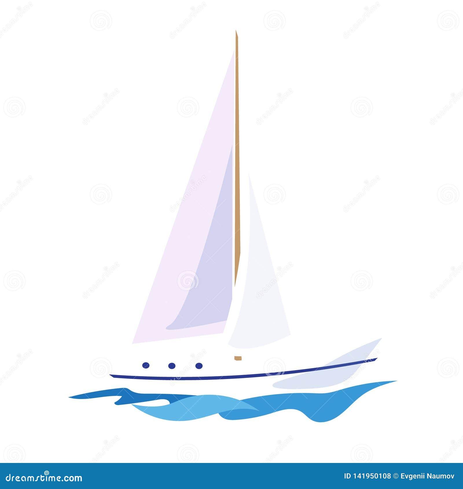 Yacht på vattnet också vektor för coreldrawillustration