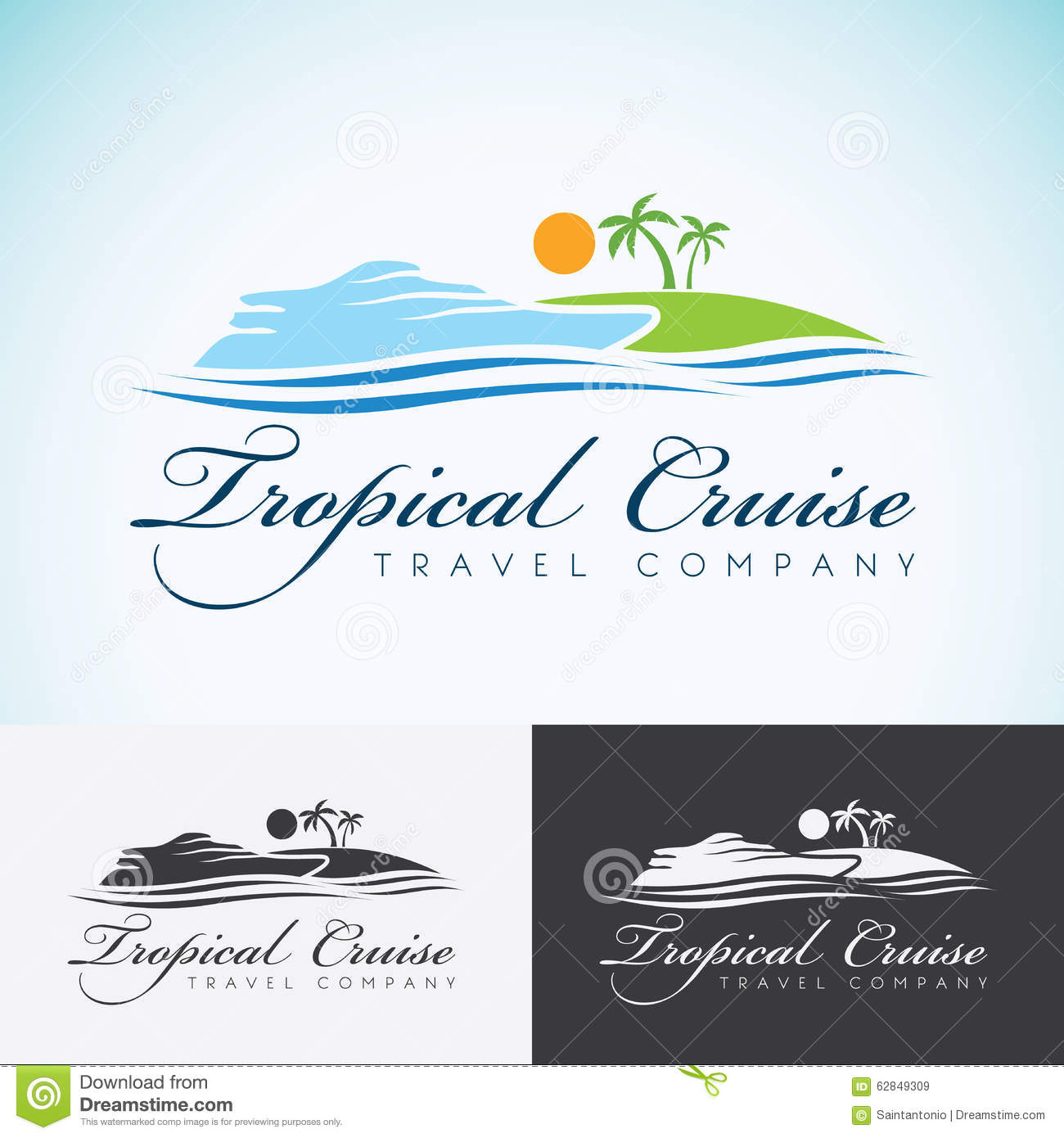 Tropical Island Yacht Yacht Palm Trees And Sun Travel Company Logo Design Template