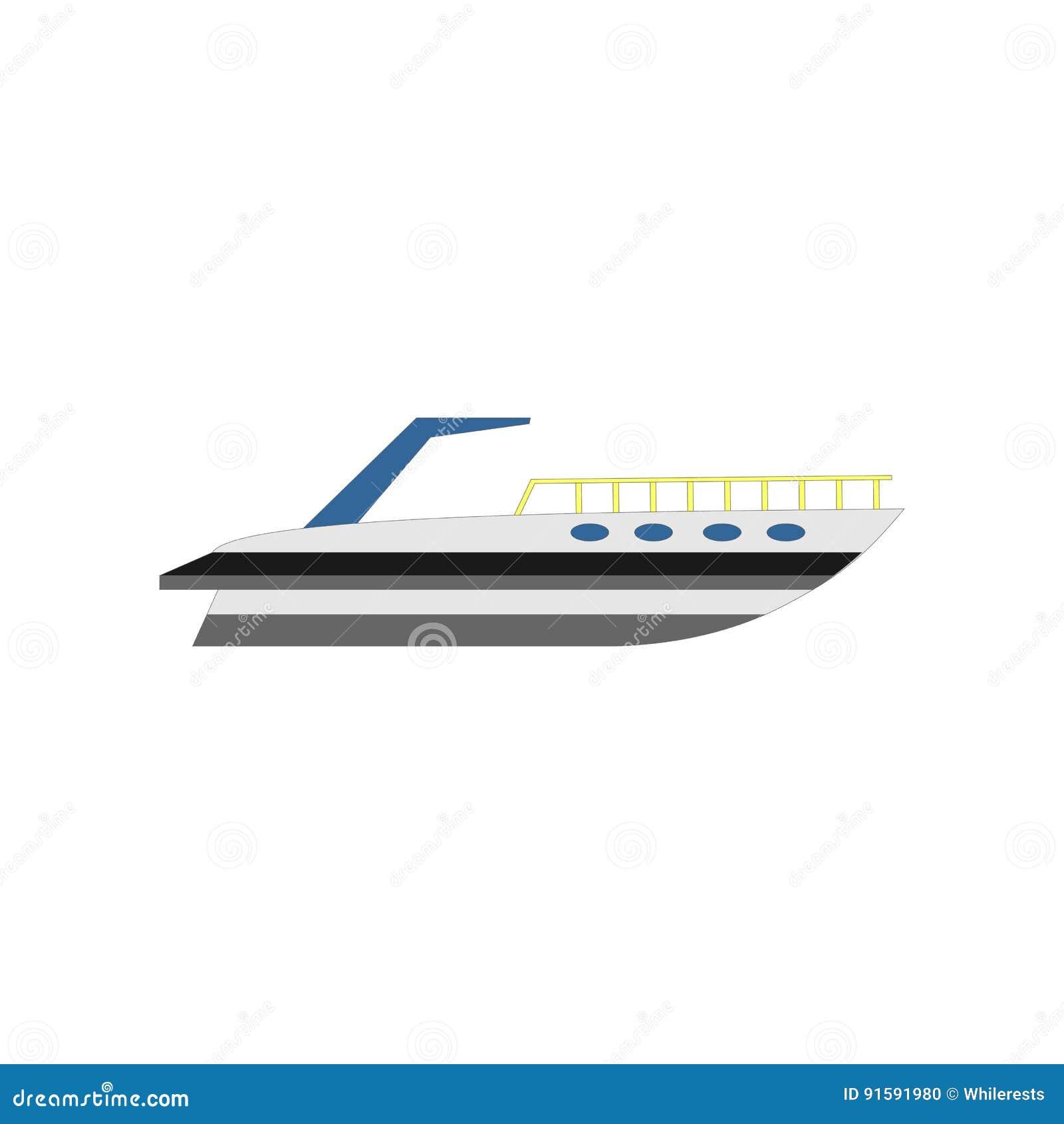 Yacht plat, bateau, cargo illustration de conception de vecteur