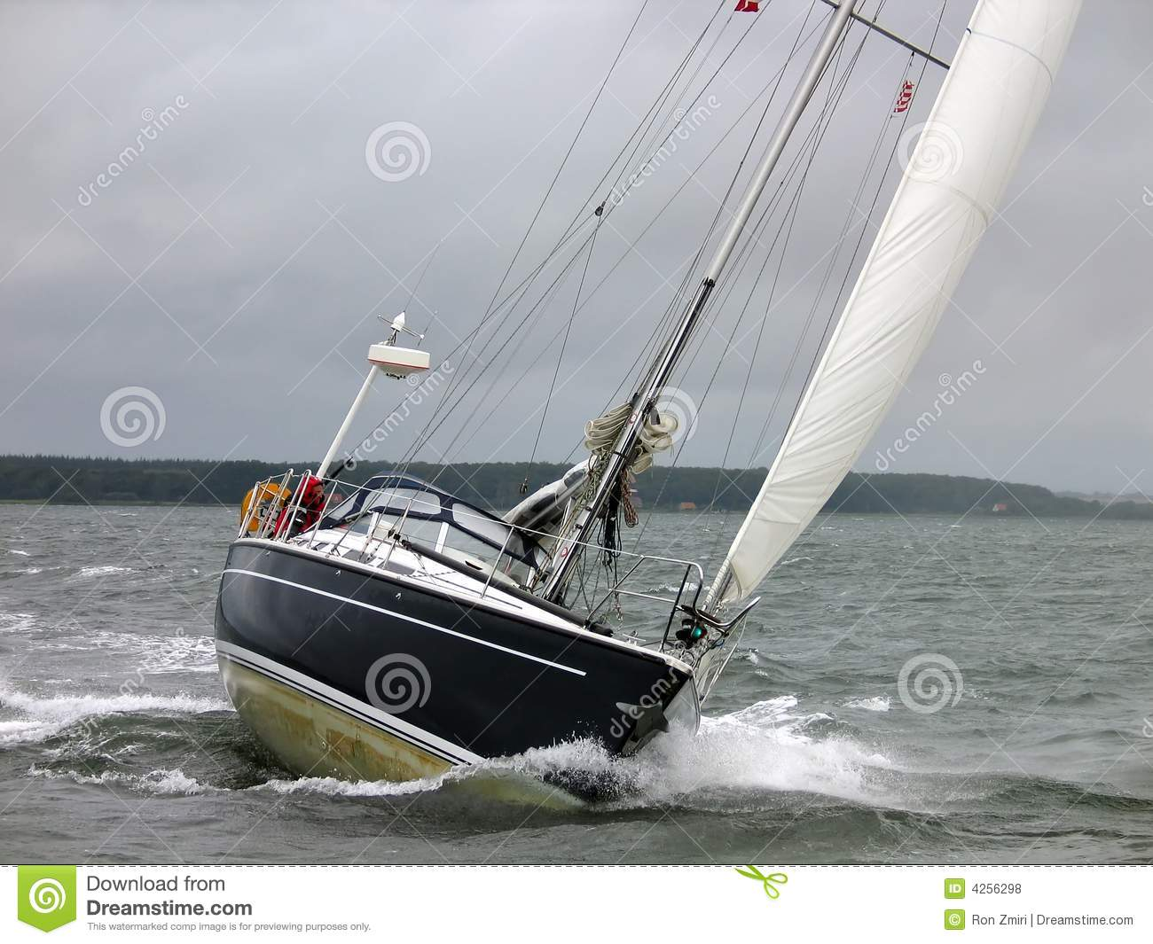 Yacht Sailboat In A Winter Sail Stock Photo - Image of