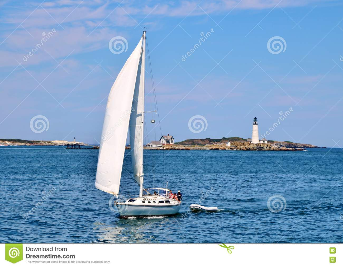 Yacht Sailing in front of Boston Harbor Lighthouse