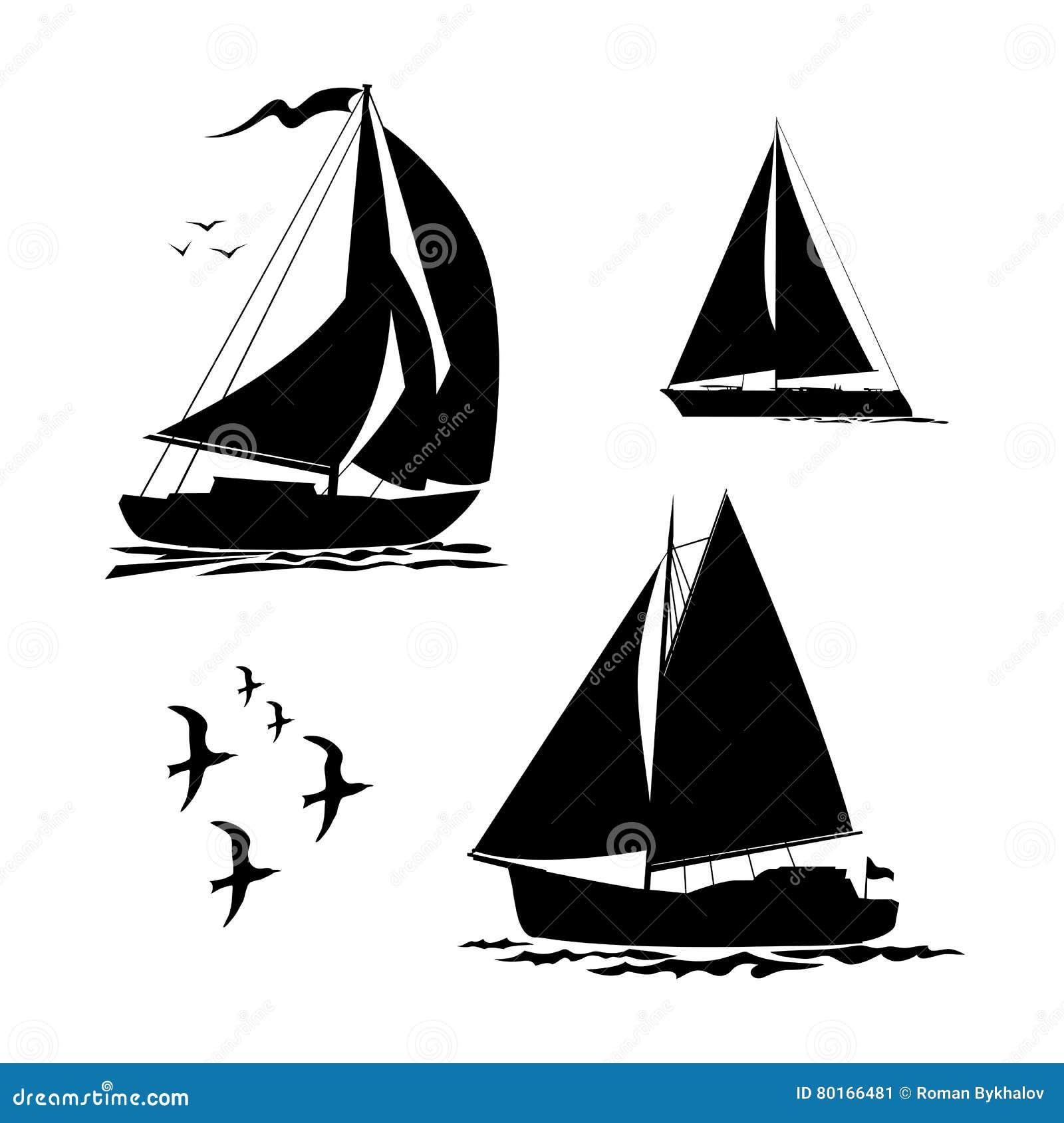 Yacht, segelbåtar och fiskmåsuppsättning