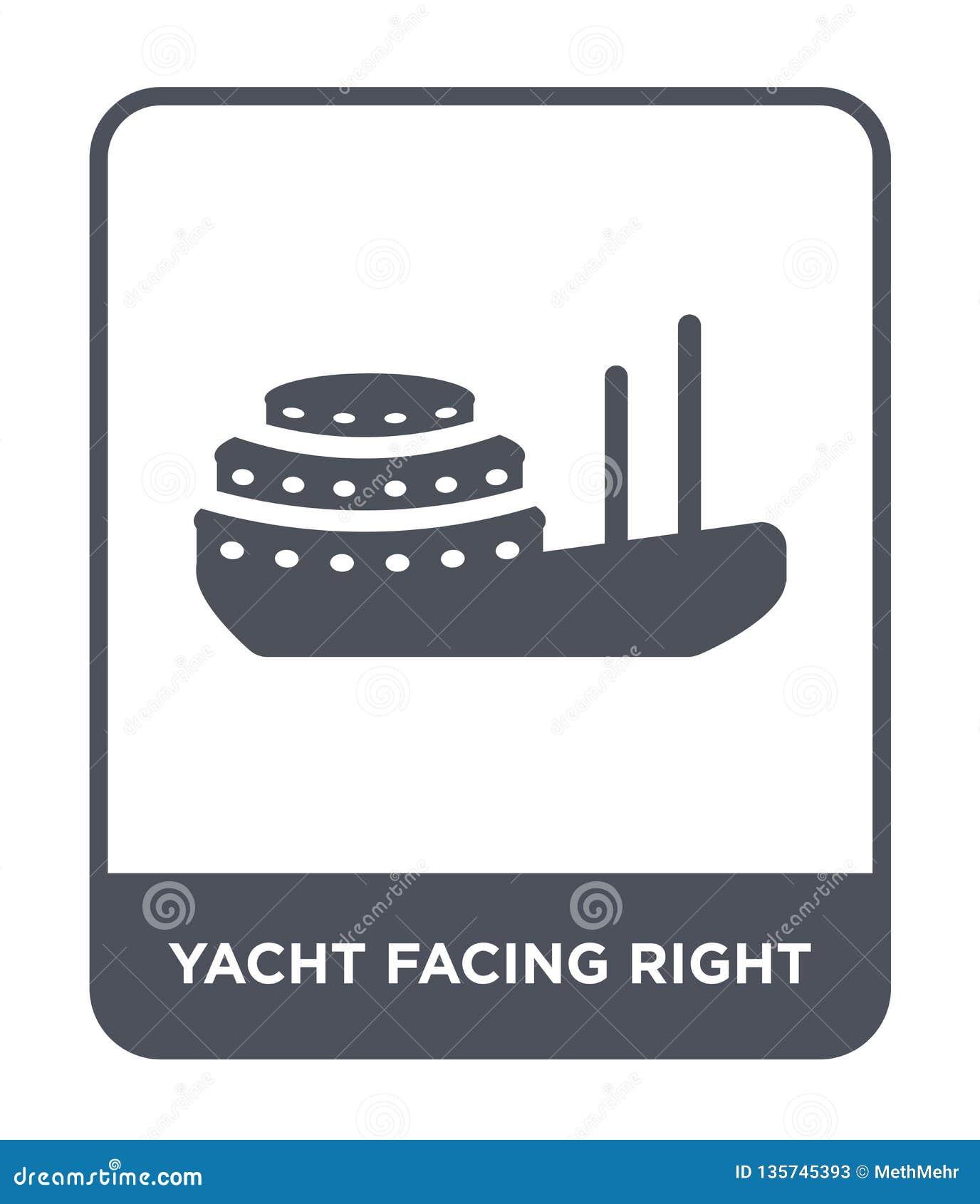 Yacht som vänder mot den högra symbolen i moderiktig designstil yacht som vänder mot den högra symbolen som isoleras på vit bakgr