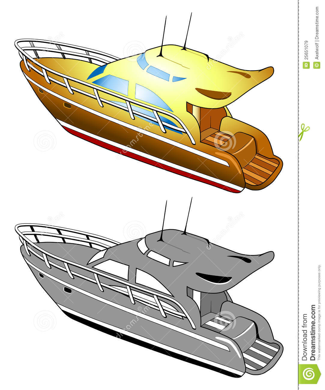 Yacht, Speed Boat, Vector Illustration Royalty Free Stock Images ...