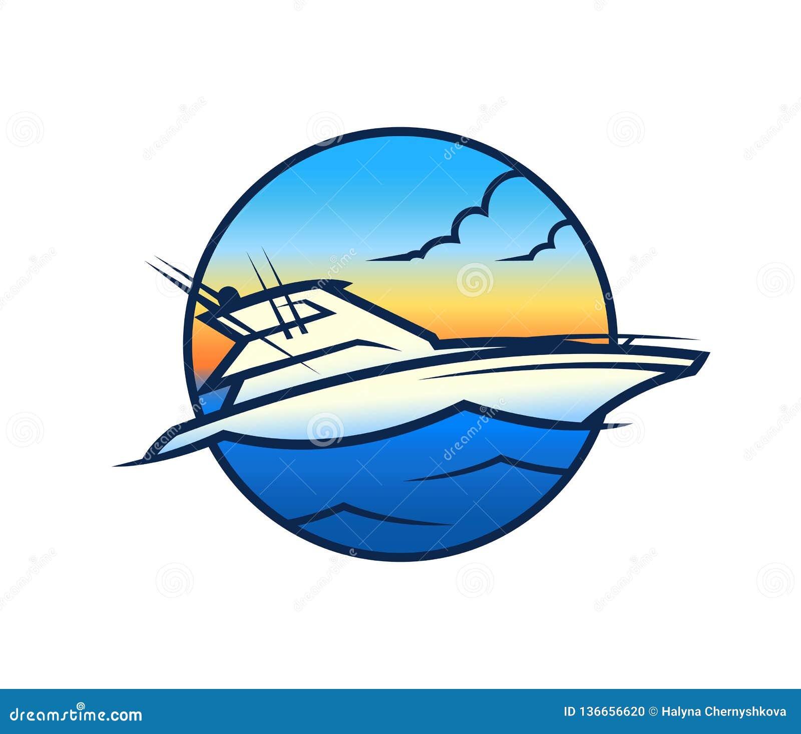 Yacht sur des vagues - icône ronde de bateau de VIP