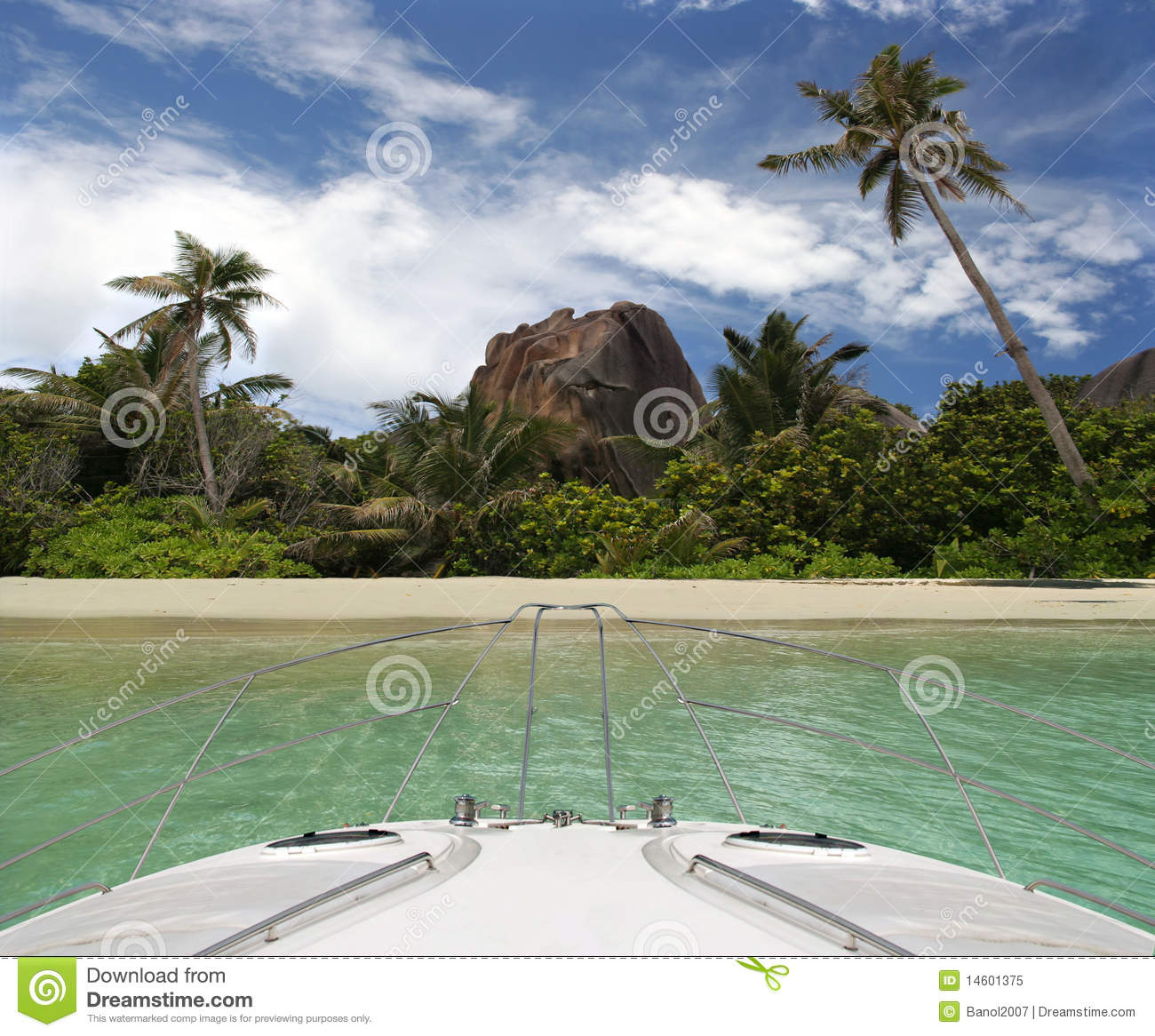 Tropical Island Yacht Yacht And Tropical Beach Of Paradise Island Royalty Free Stock