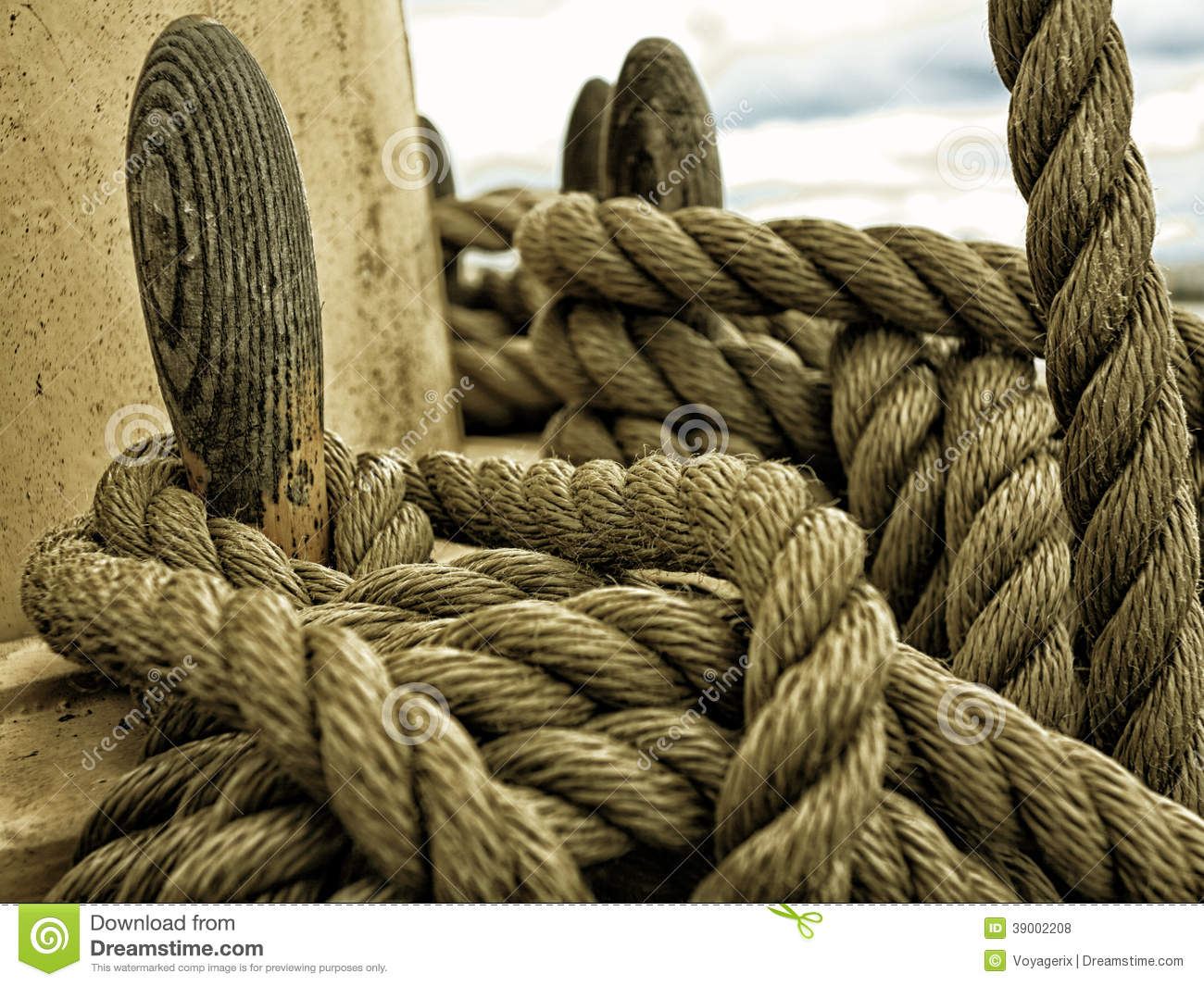 Yachting. Parts Of Yacht. Nautical Ship Rope. Stock Photo ...