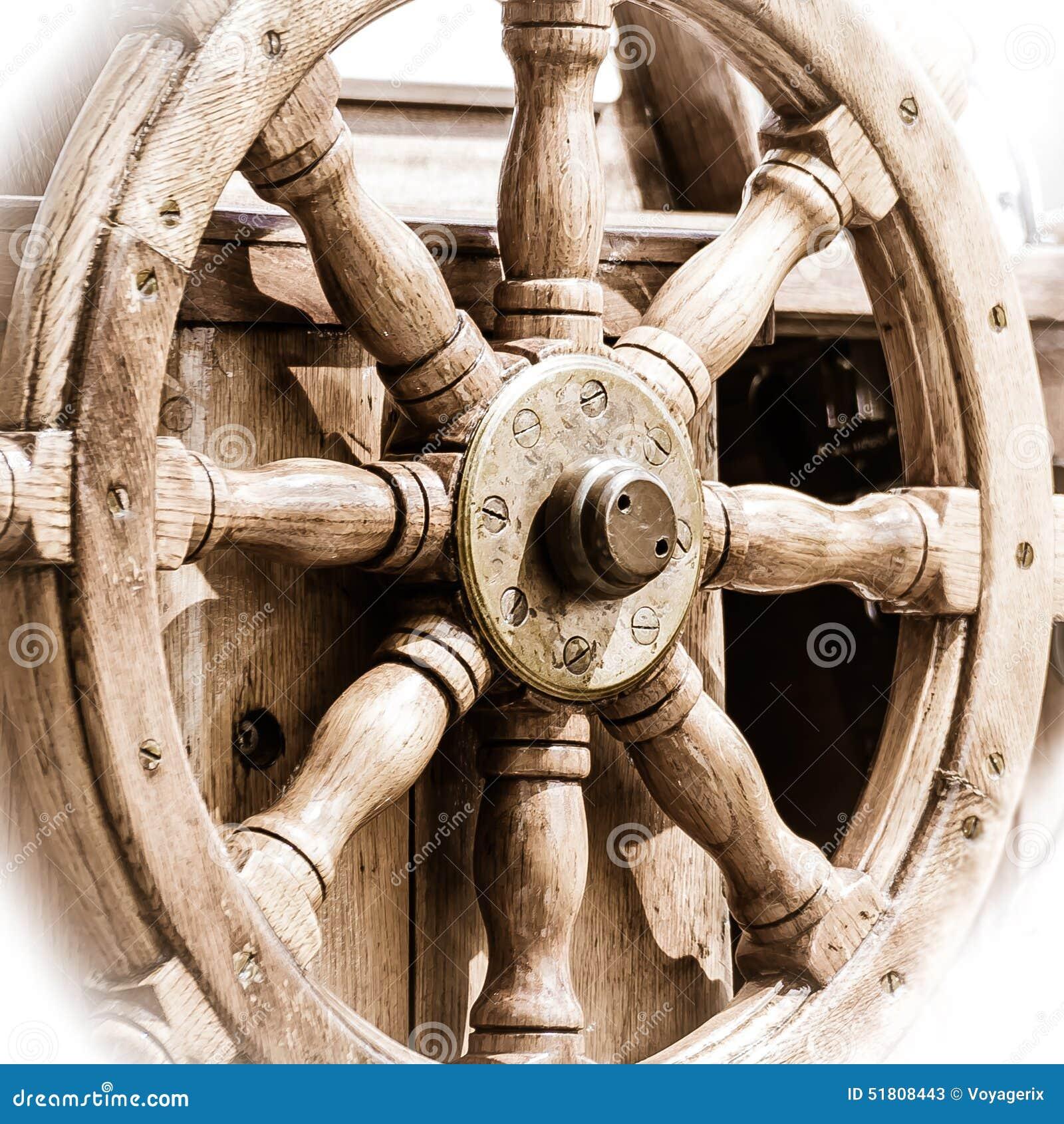 Yachting. Ship Wooden Steering Wheel. Sailboat Detail