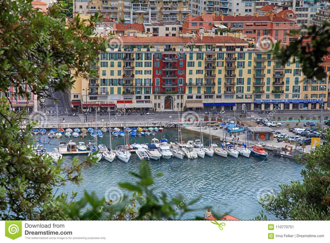 Yachts and architecture in the Port de Nice in French Riviera, F